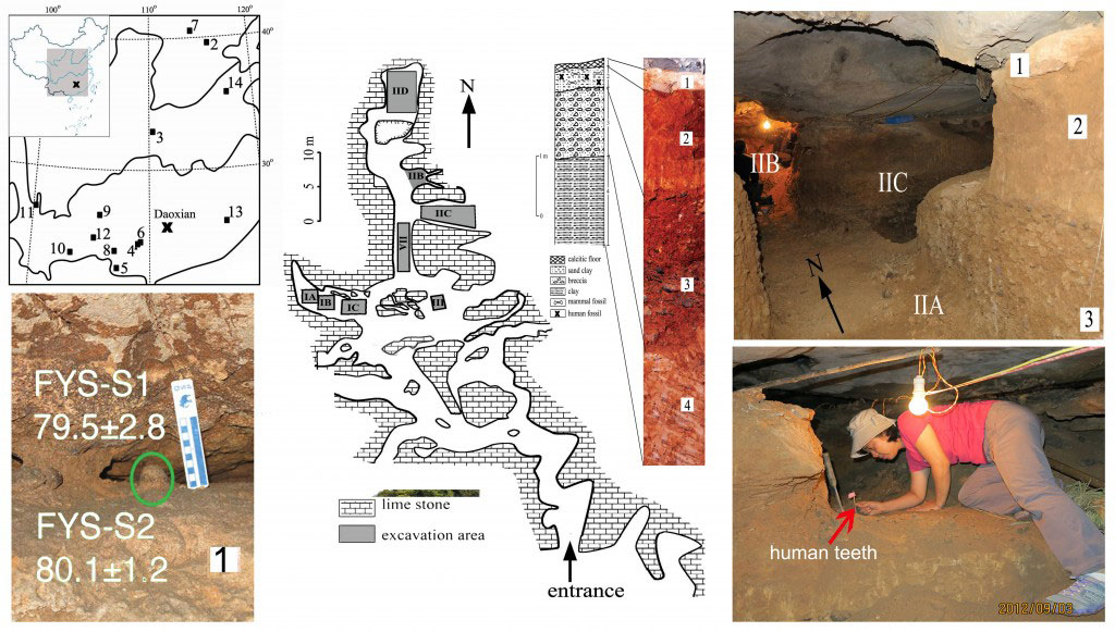 Geographical location and interior views of the Fuyan Cave, Doaxian with dating sample (lower left), plan view of the excavation area with stratigraphy layer marked (center), the spatial relationship of the excavated regions and researcher finding human tooth (right).