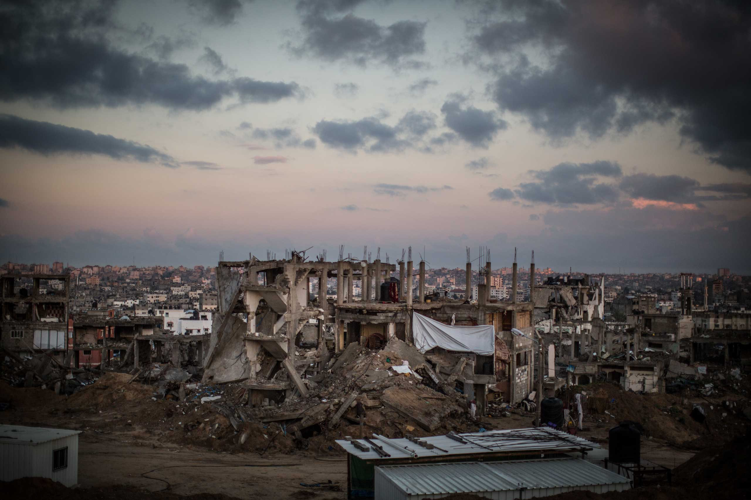 Destroyed buildings in Shejaiya, a district of Gaza, one of the areas most affected by the destruction. The Gaza Strip, December 2014.