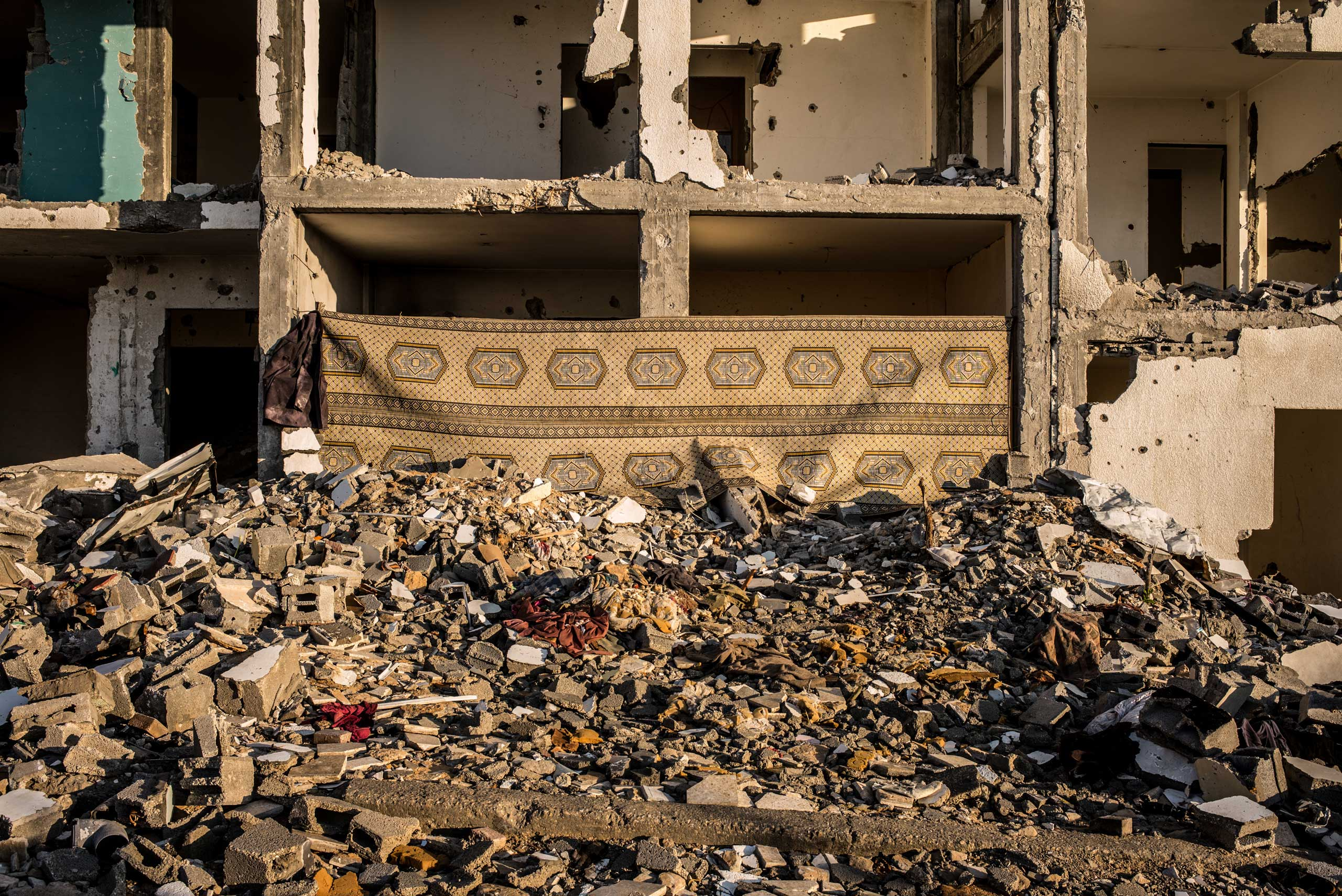 A building completely destroyed by the Israel Defense Forces' tanks in the north of the Gaza Strip, December 2014.
