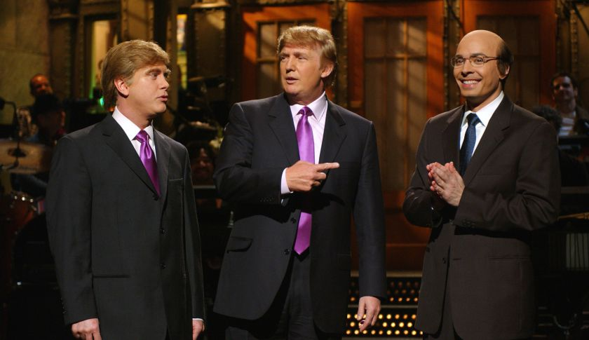 Darrell Hammond, Donald Trump and Jimmy Fallon as Jeff Zucker during the SNL monologue on April 3, 2004.