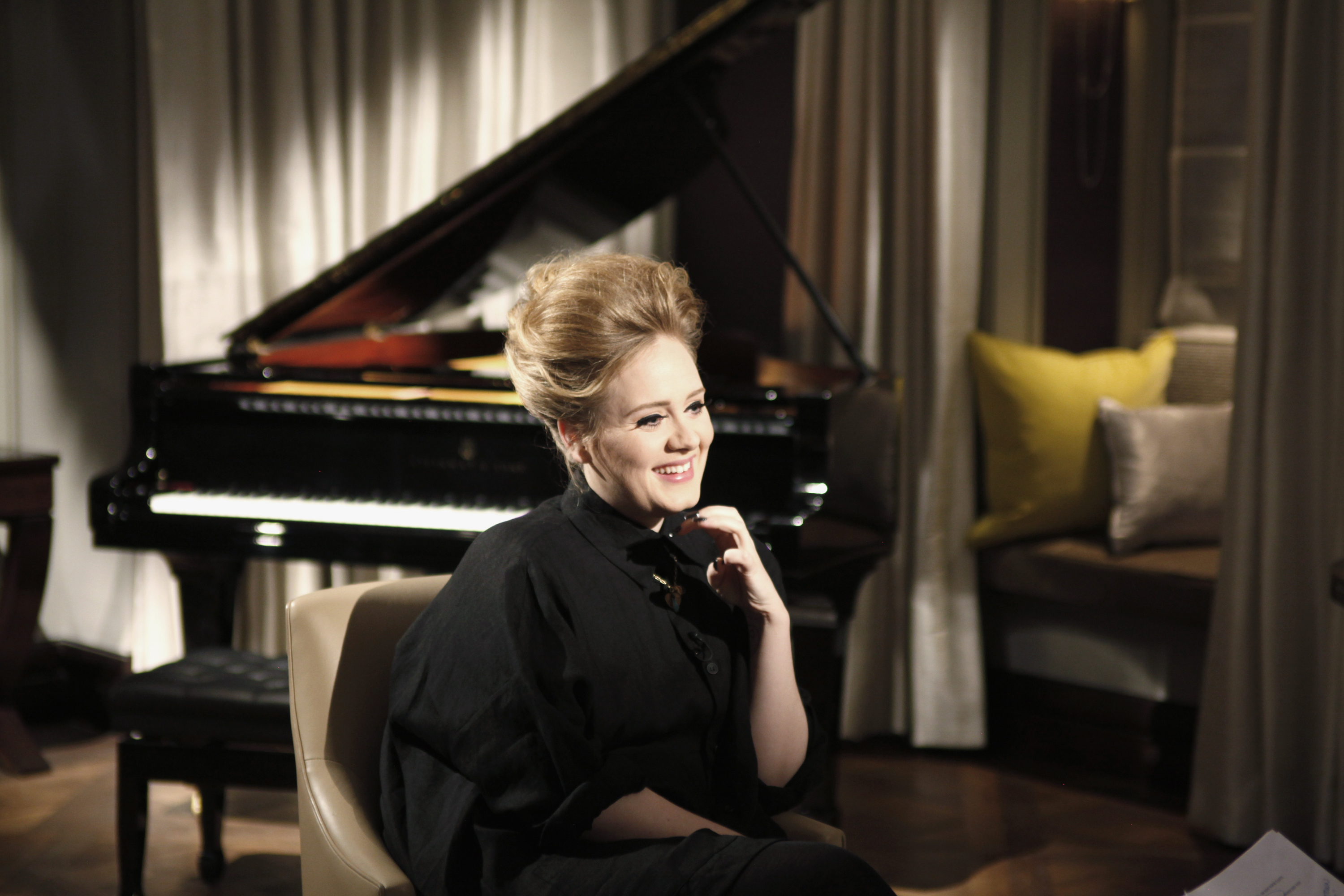 "Adele sits down with Matt Lauer to discuss her upcoming NBC special ""Adele Live in London with Matt Lauer"" on May 2, 2012."
