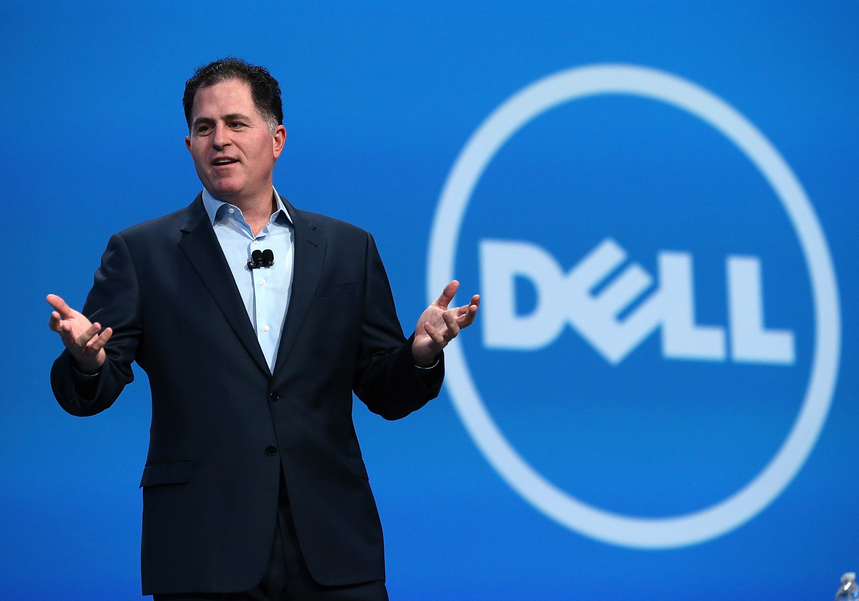 Dell CEO Michael Dell delivers a keynote address during the 2013 Oracle Open World conference in San Francisco, California, on Sept. 25, 2013.