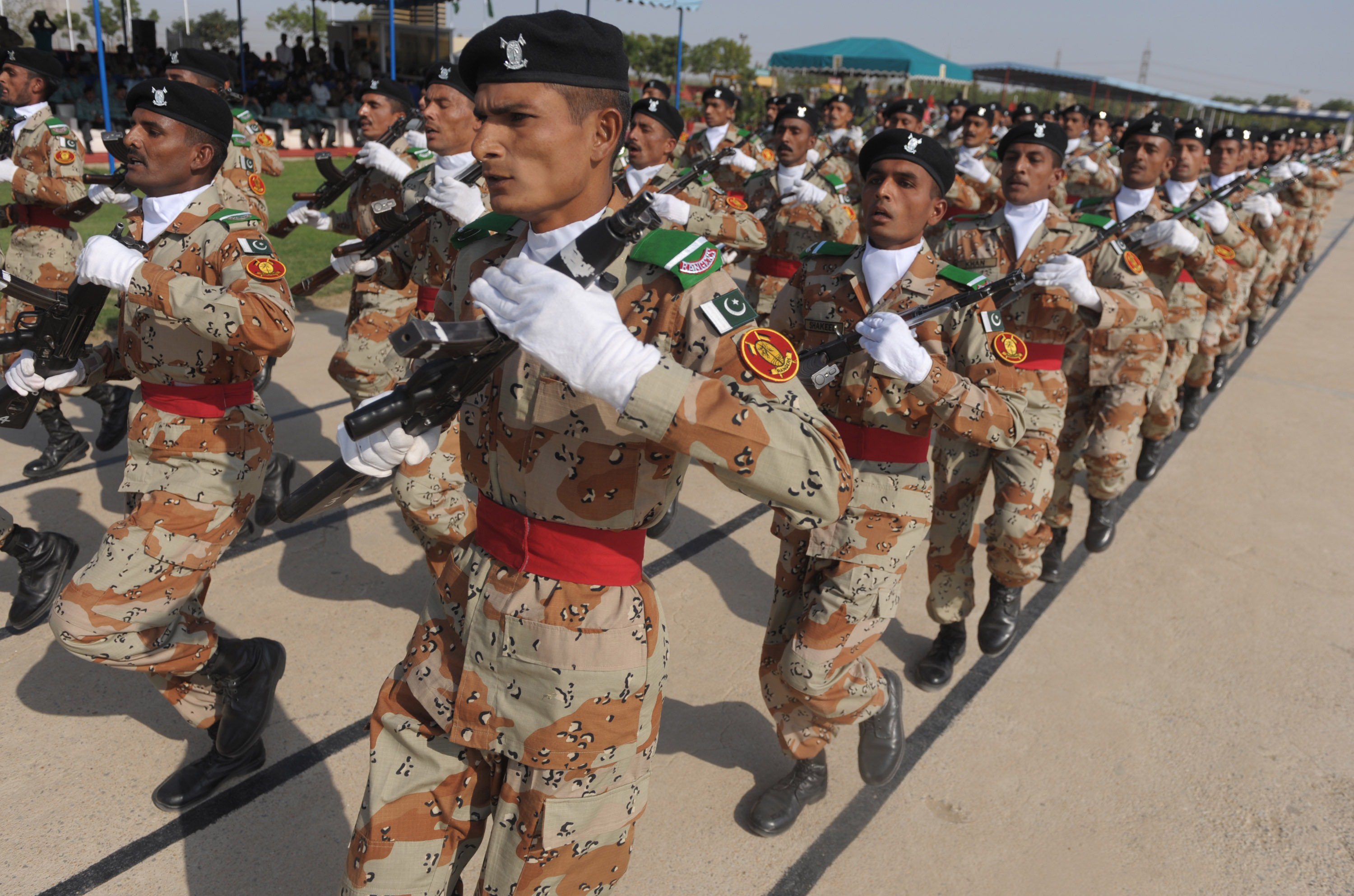 Pakistani paramilitary soldiers march during the 18th passing out parade for the Rangers basic recruits training course at the Sindh Rangers Training Centre in Karachi on Nov. 11, 2014
