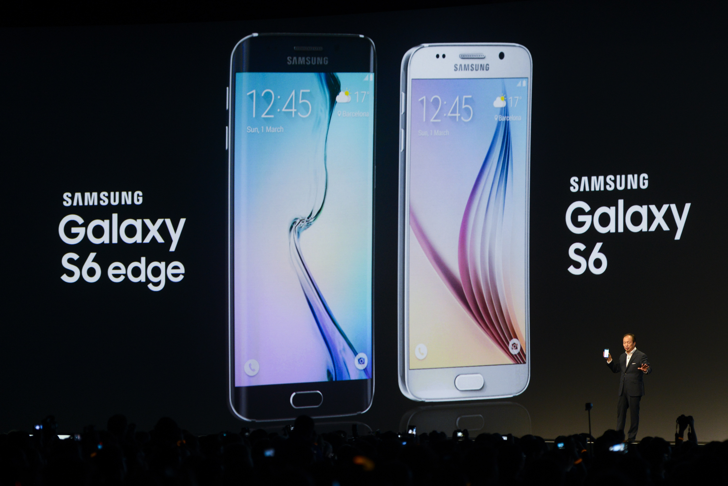 CEO and President of Samsung JK Shin presents the new Samsung Galaxy S6 during the  Mobile World Congress on March 1, 2015 in Barcelona, Spain.