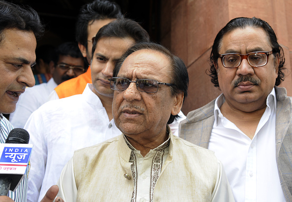 Pakistani classical singer Ghulam Ali after meeting Indian Prime Minister Narendra Modi at Parliament on April 24, 2015, in New Delhi