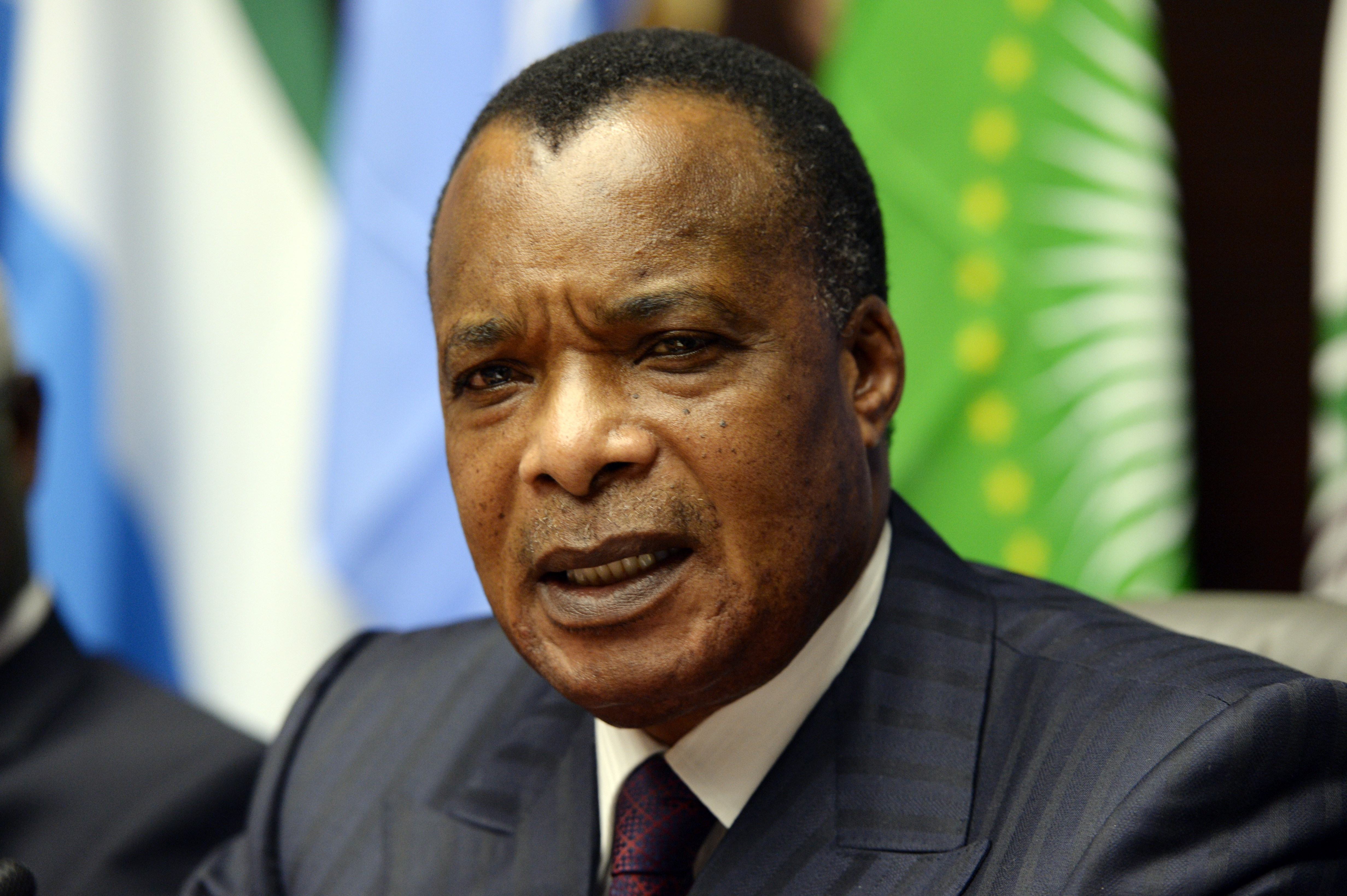 Congolese President Denis Sassou Nguesso attends a press conference on March 3, 2015