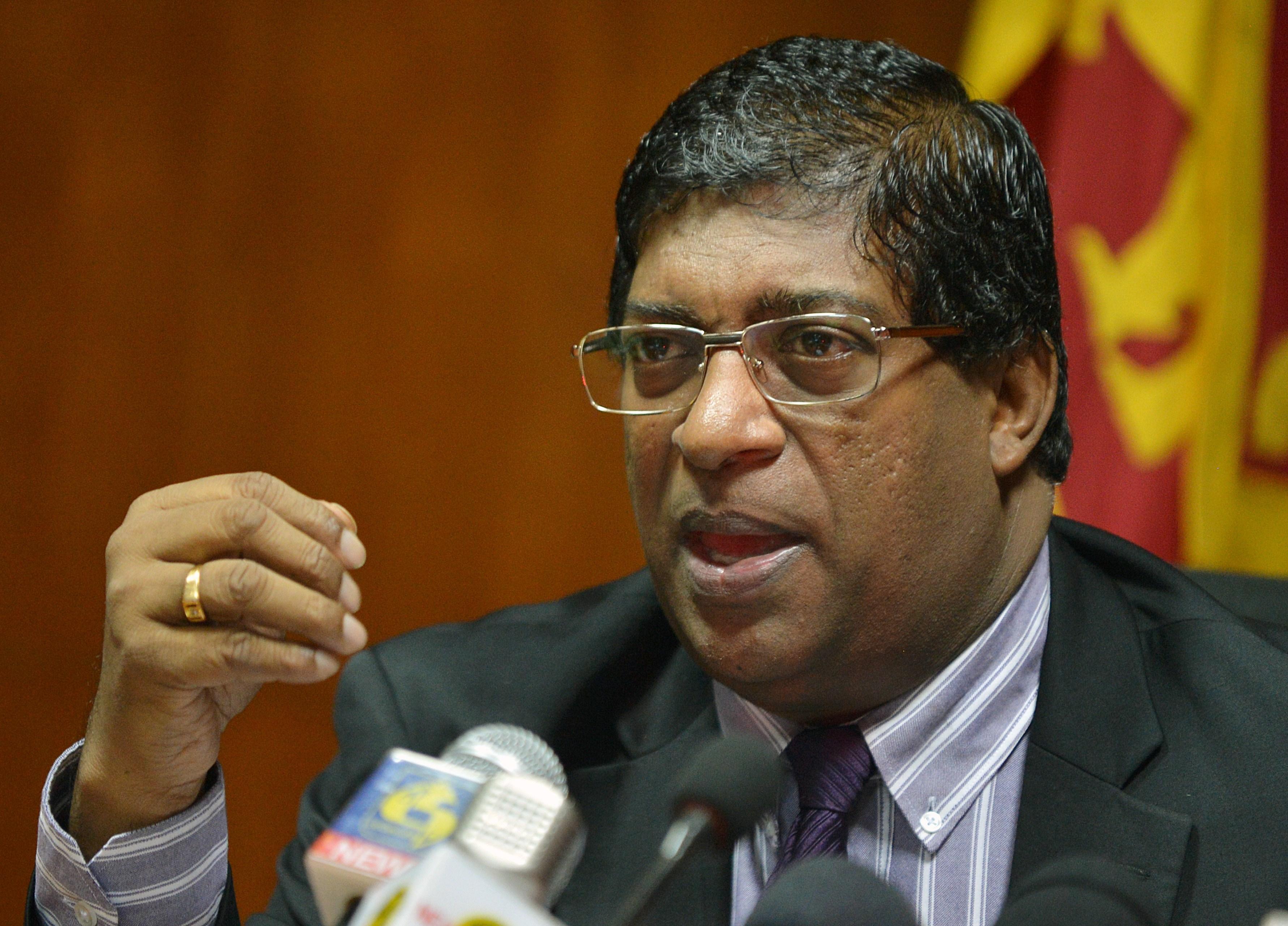 Sri Lanka's Finance Minister Ravi Karunanayake speaks to reporters in Colombo, Sri Lanka, on July 15, 2015