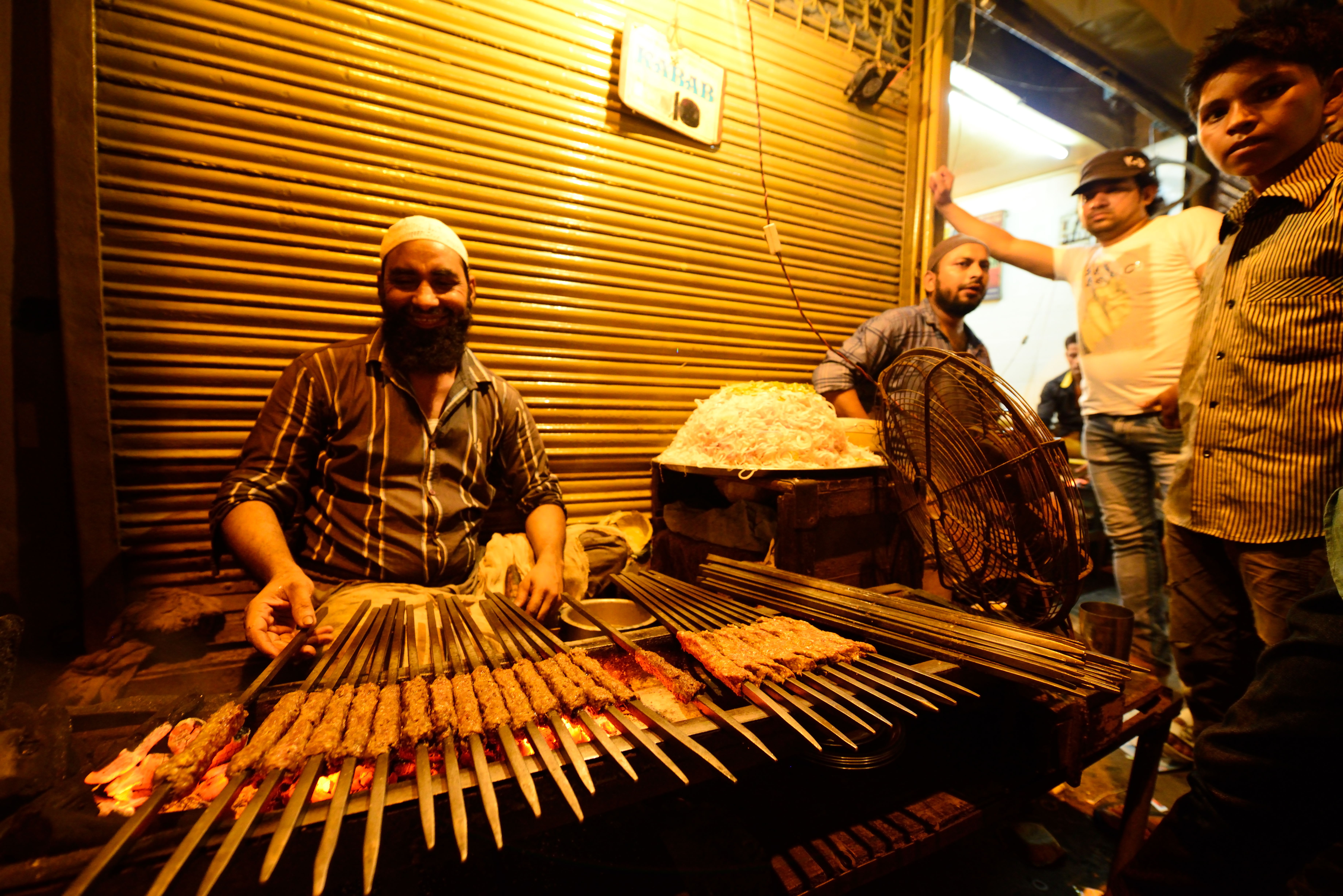 The famous beef-kebab stall at Chandni Chowk, in New Delhi, on Aug. 20, 2014