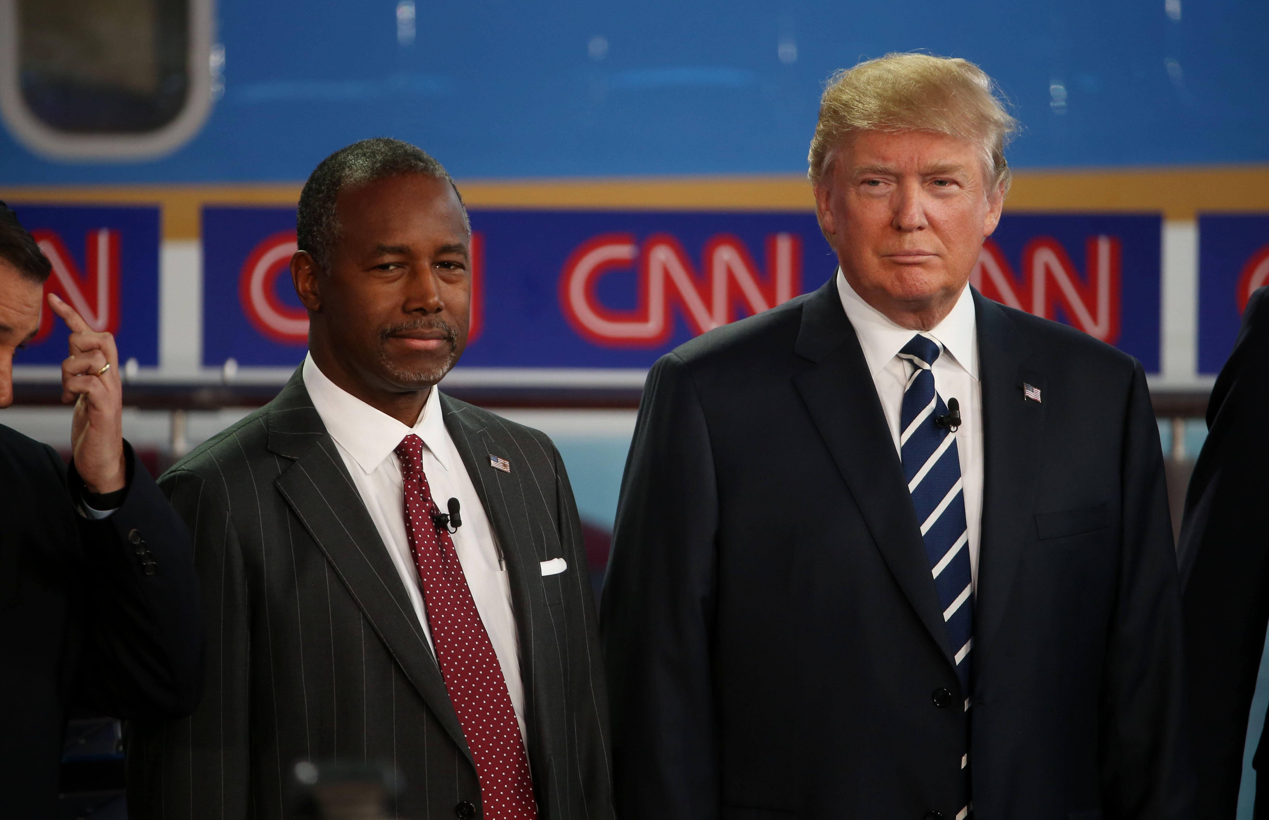 Ben Carson and Donald Trump take part in the presidential debates at the Reagan Library in Simi Valley, Calif., on Sept. 16, 2015.