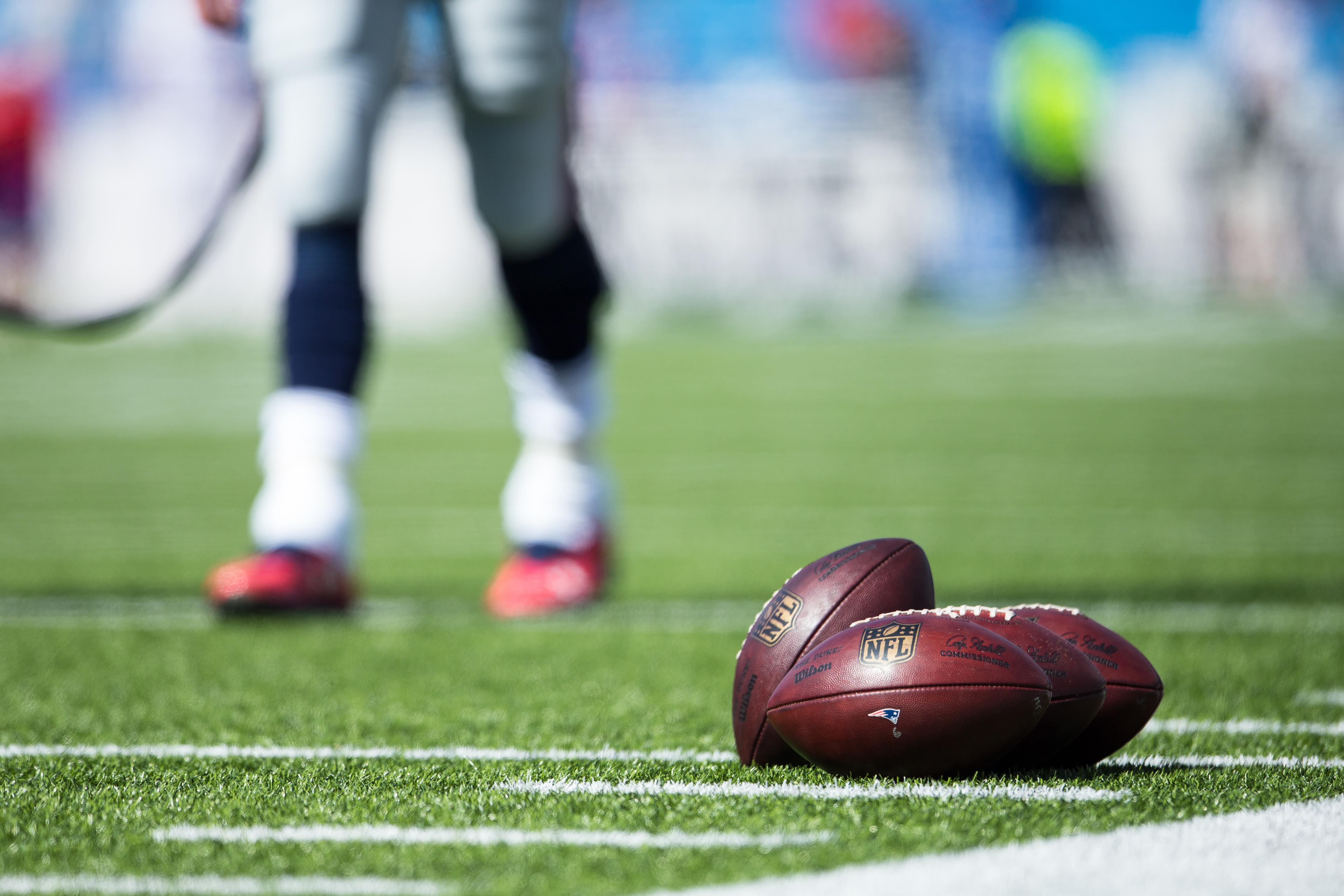 Wilson NFL Footballs at Ralph Wilson Stadium in Orchard Park, New York, on Sept. 20, 2015.