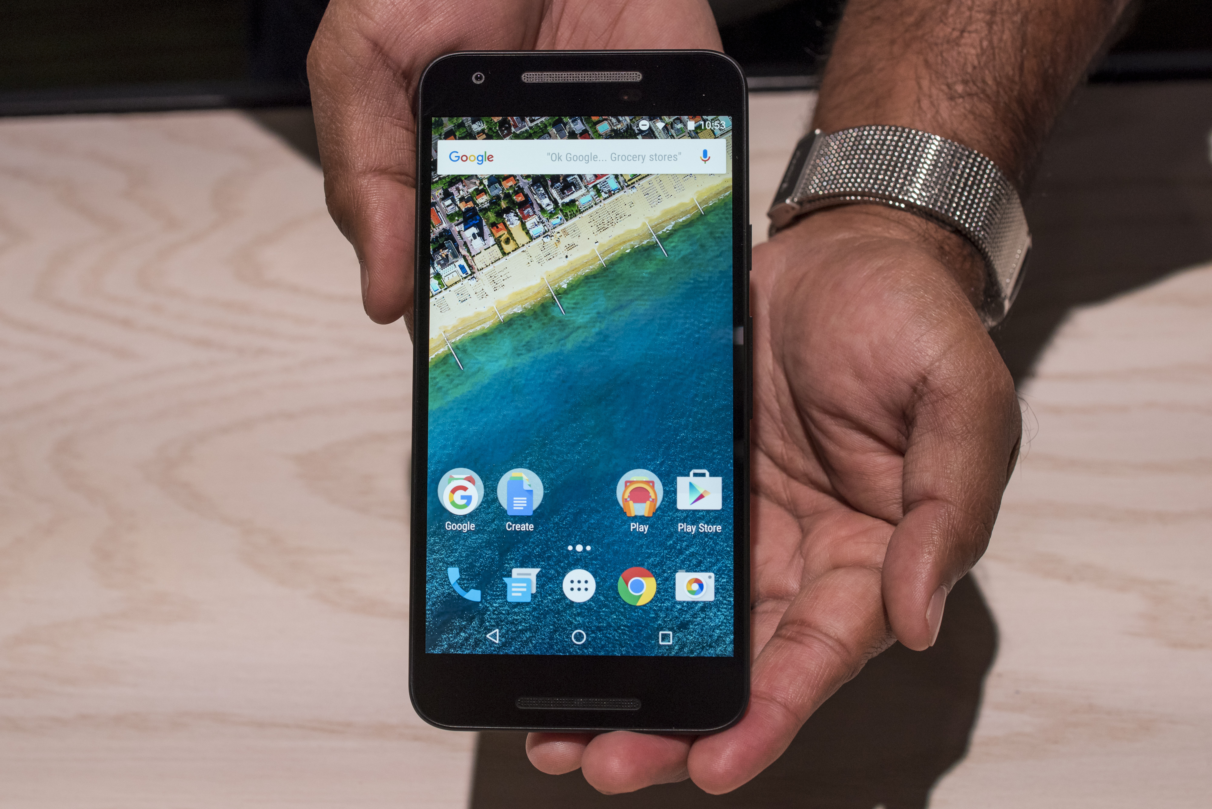 An attendee displays a Nexus 6P smartphone for a photograph during a Google Inc. event in San Francisco, California, U.S., on Tuesday, Sept. 29, 2015.