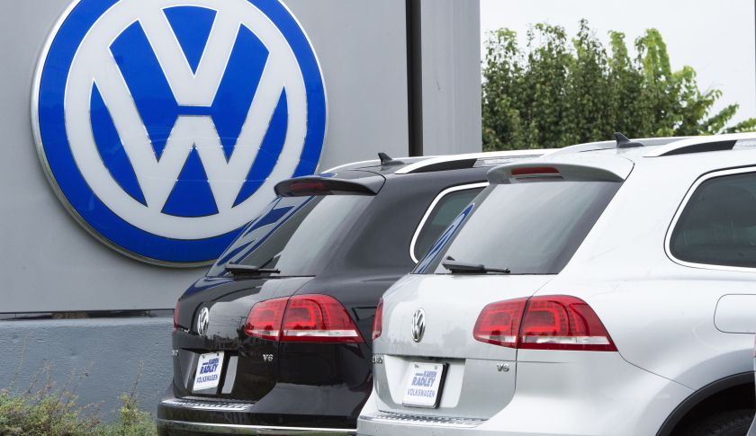 The logo of German car maker Volkswagen.
