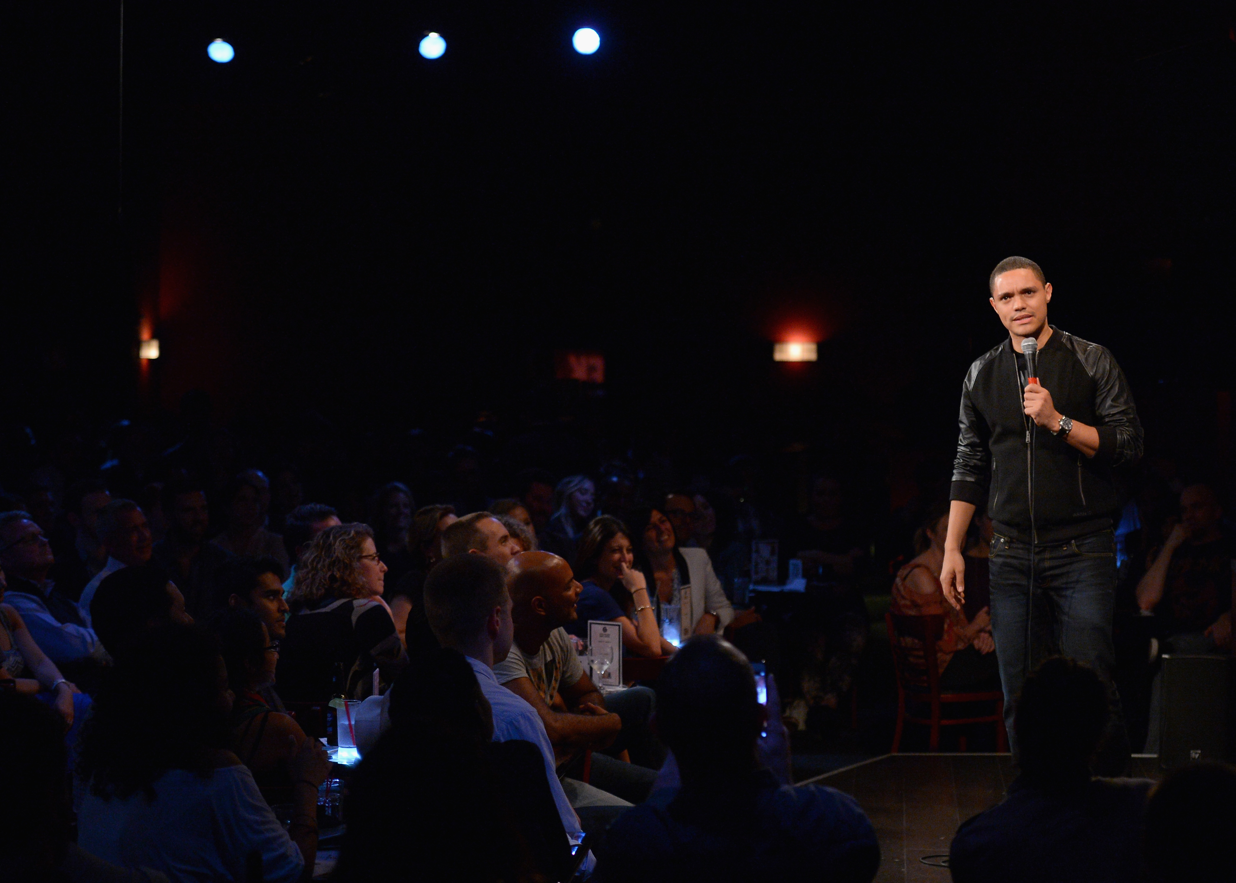 NEW YORK, NY - SEPTEMBER 29:  Comediann Trevor Noah performs onstage at Stand Up LIVE! during Advertising Week 2015 AWXII at the Gotham Comedy Club on September 29, 2015 in New York City.  (Photo by Andrew Toth/Getty Images for AWXII)