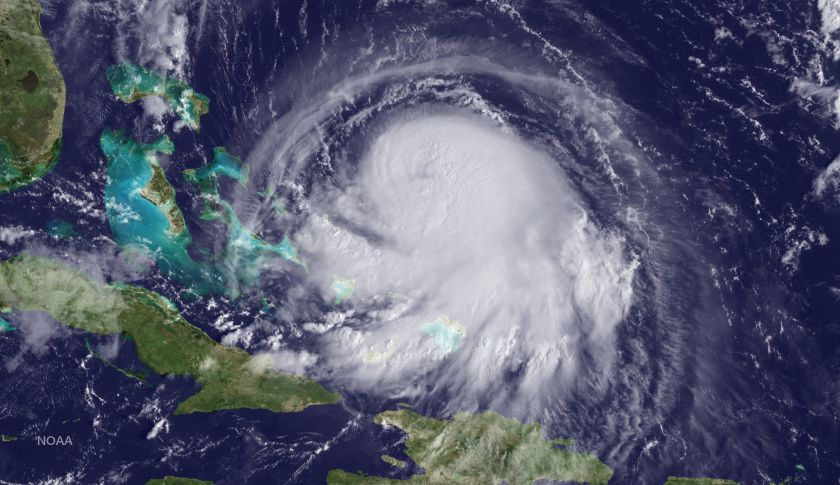 In this handout from the National Oceanic and Atmospheric Administration (NOAA), Hurricane Joaquin is seen churning in the Caribbean.