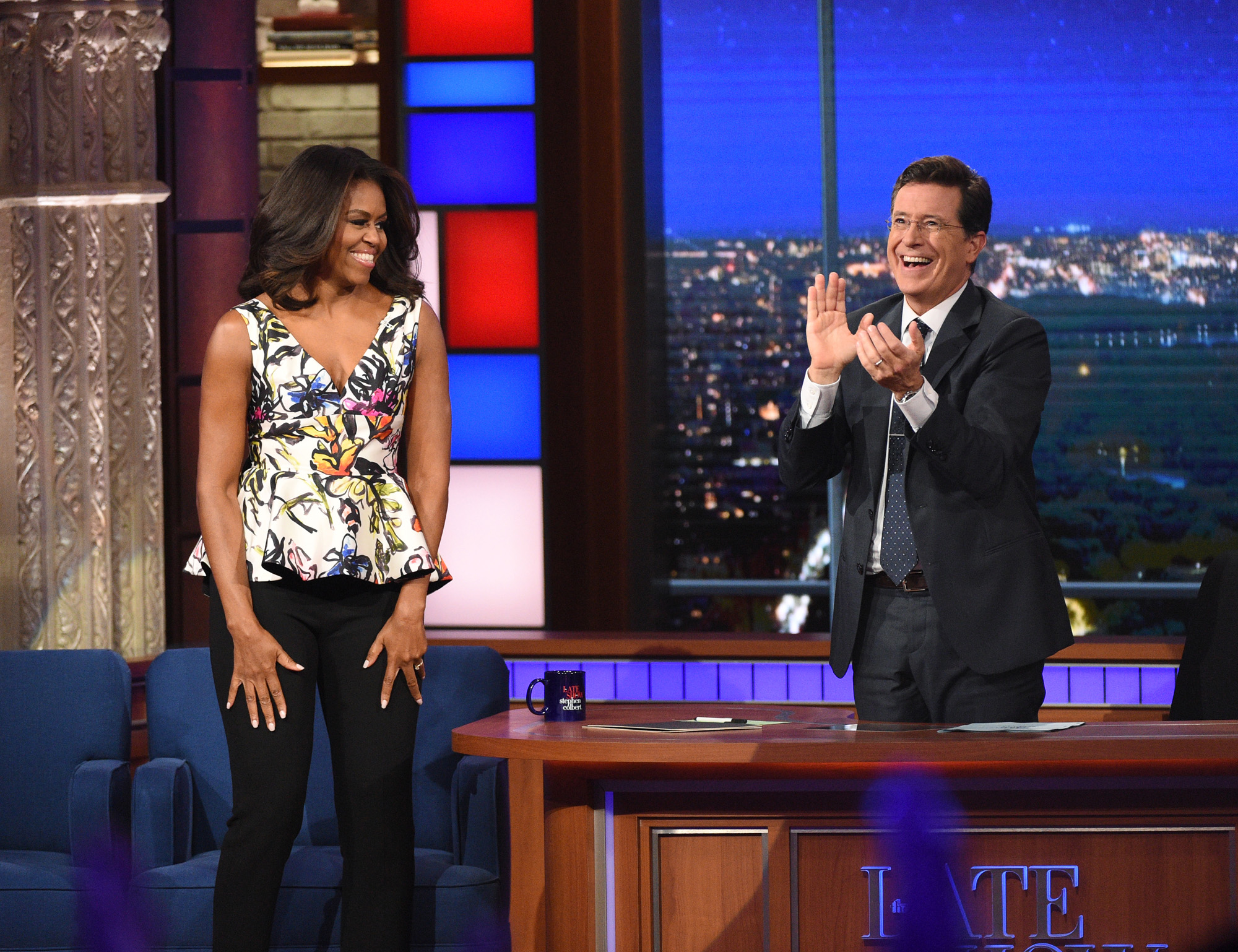 NEW YORK - SEPTEMBER 28: First Lady Michelle Obama on The Late Show with Stephen Colbert, Monday Sept. 28, 2015 on the CBS Television Network. (Photo by Jeffrey R. Staab/CBS via Getty Images)