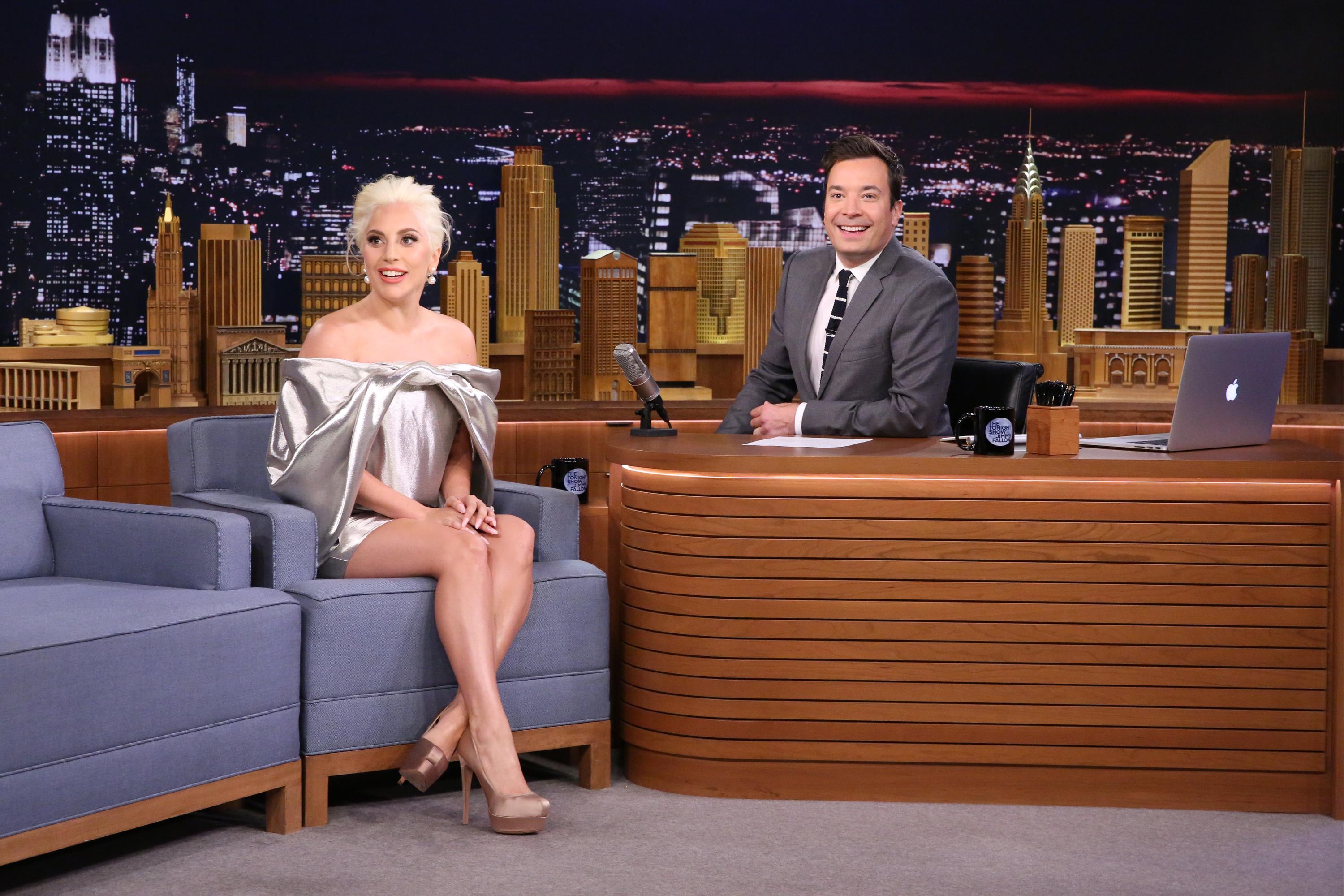 Lady Gaga during an interview with host Jimmy Fallon on Oct. 6, 2015.