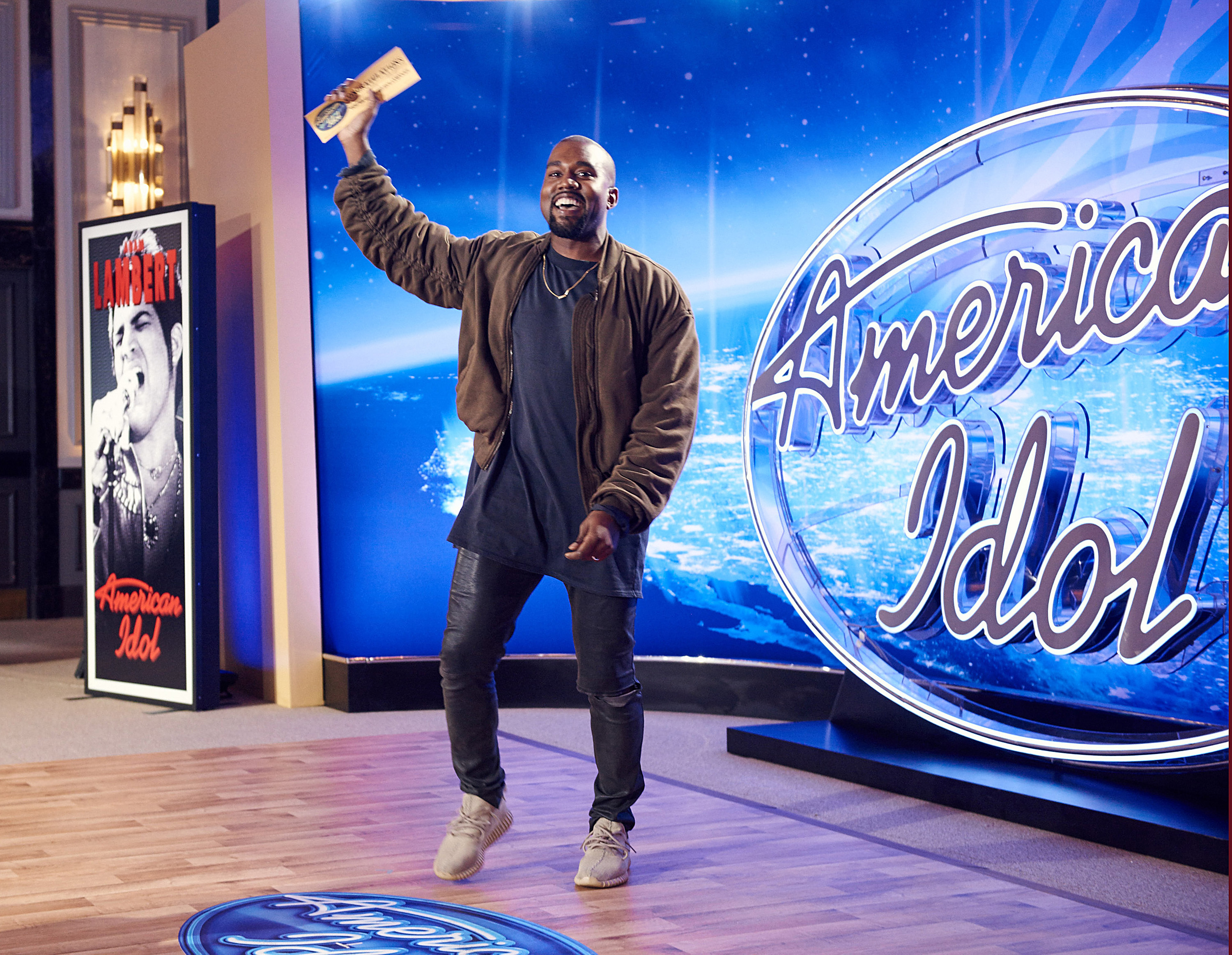 Kanye West surprises the Judges and Ryan Seacrest on American Idol by auditioning in San Francisco on Oct. 10, 2015.