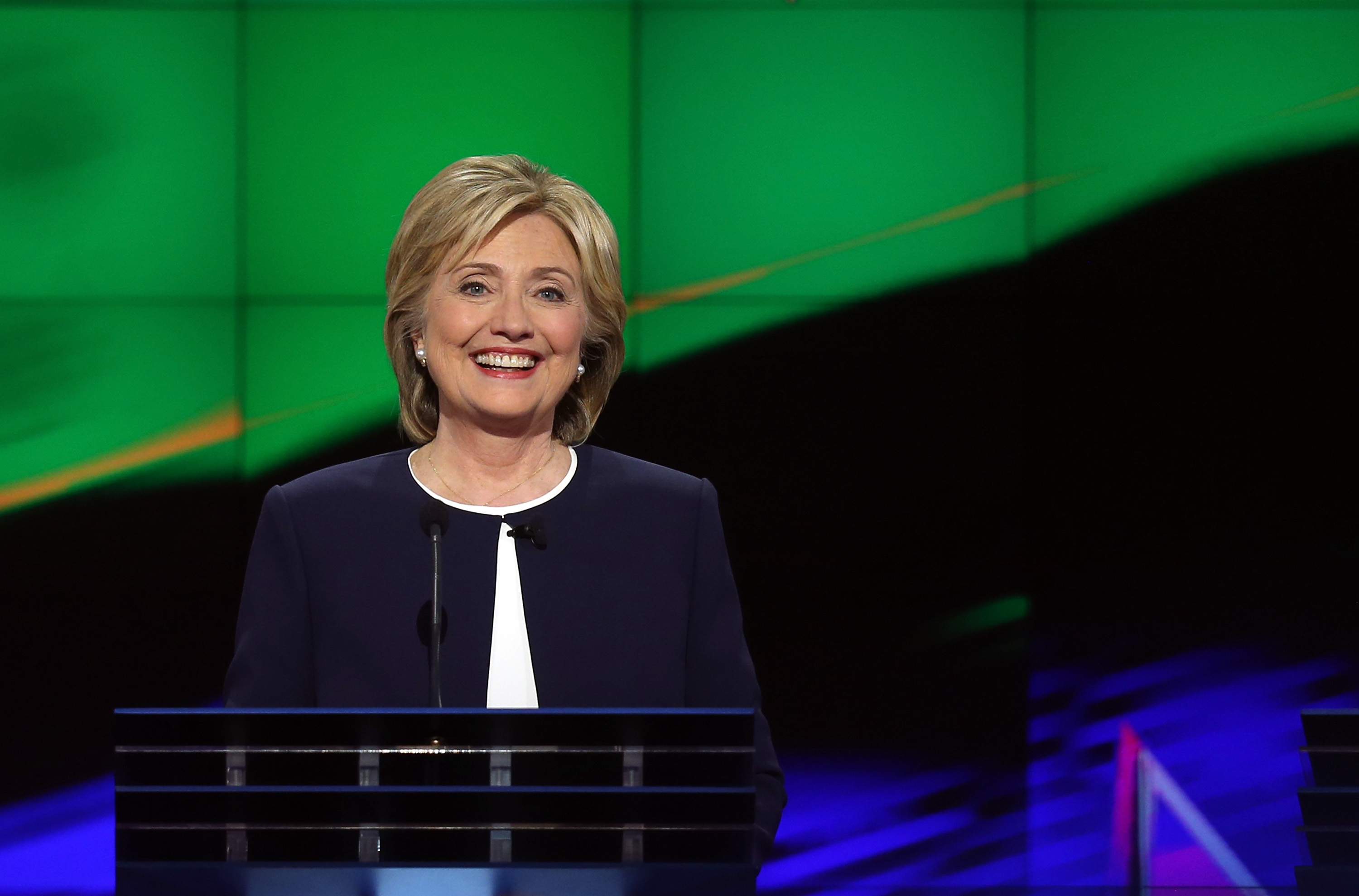 Hillary Clinton takes part in a presidential debate sponsored by CNN and Facebook at Wynn Las Vegas on Oct. 13, 2015 in Las Vegas.