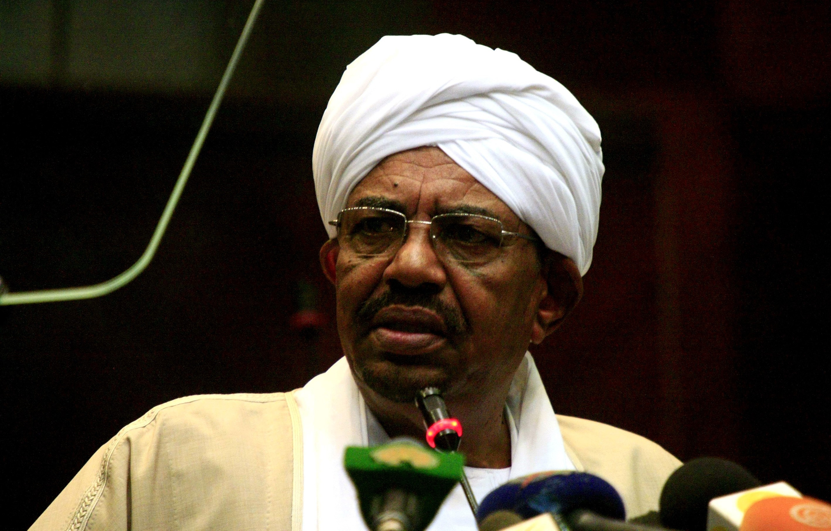 Sudanese President  Omar al-Bashir addresses the National Legislature's Second Session on Oct. 19, 2015, in Khartoum, Sudan