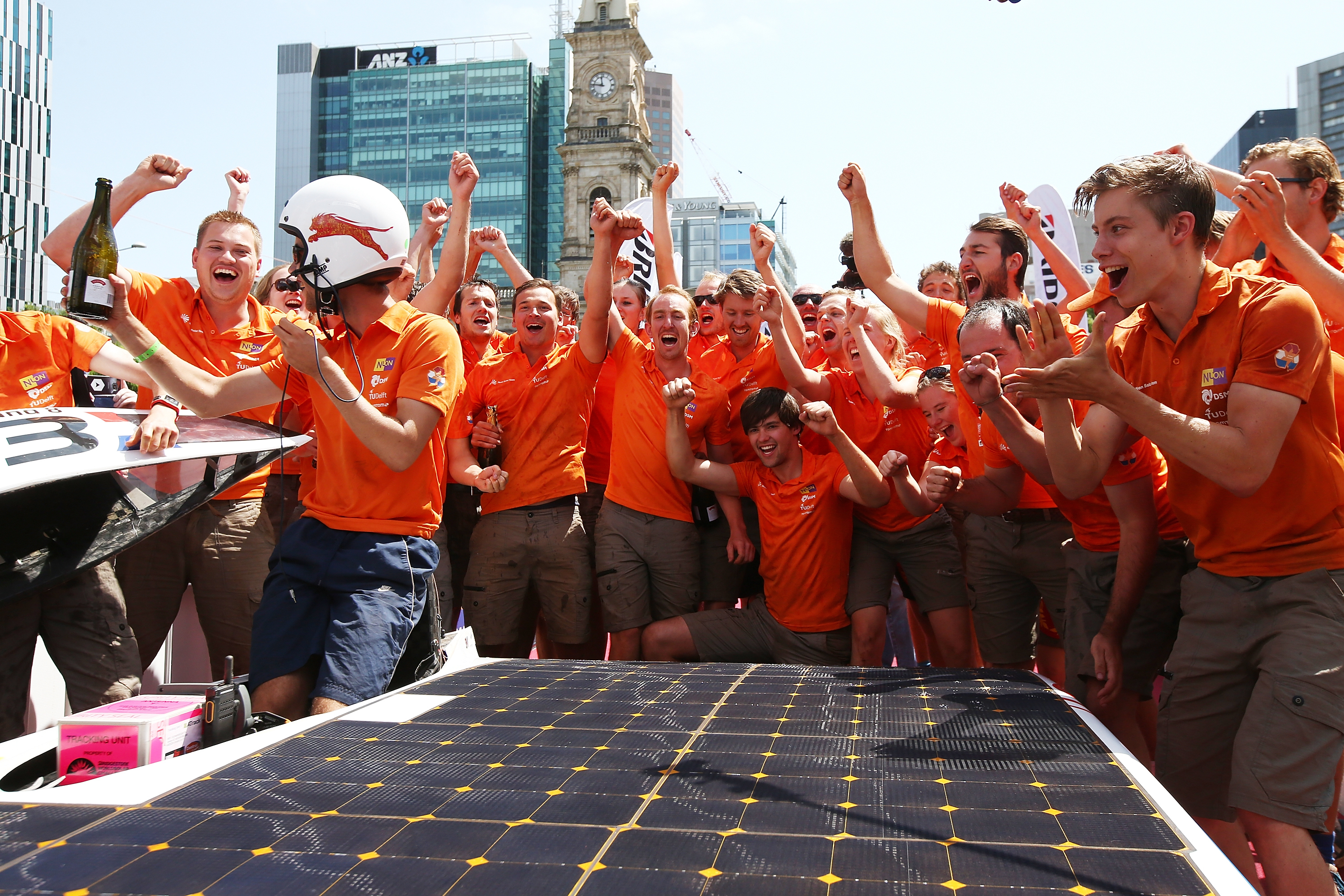 The Nuon Solar Team of the Netherlands celebrates after winning the 2015 Bridgestone World Solar Challenge at Victoria Square on Oct. 22, 2015 in Adelaide, Australia