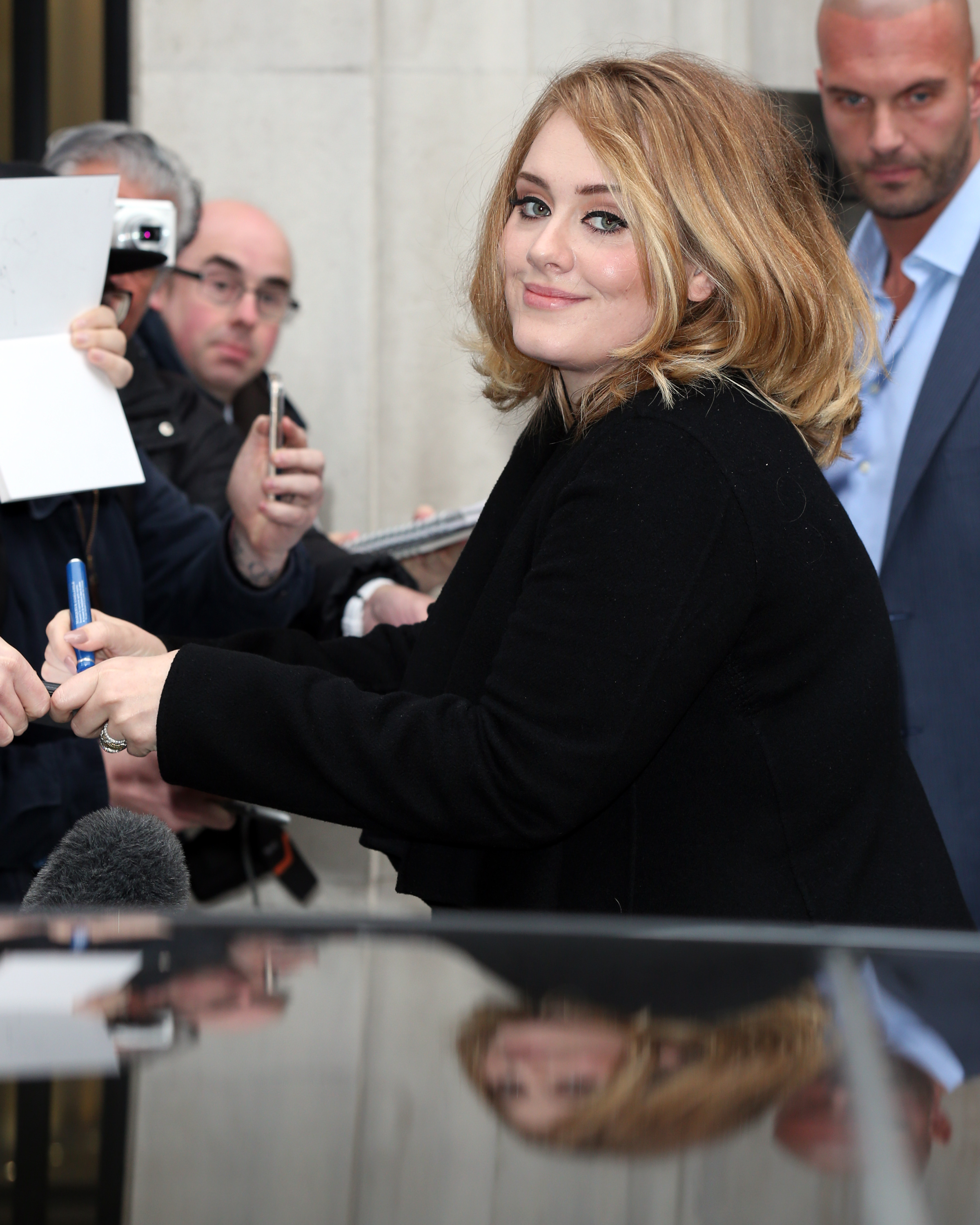 Adele seen at BBC Radio 2 on Oct. 23, 2015 in London, England.