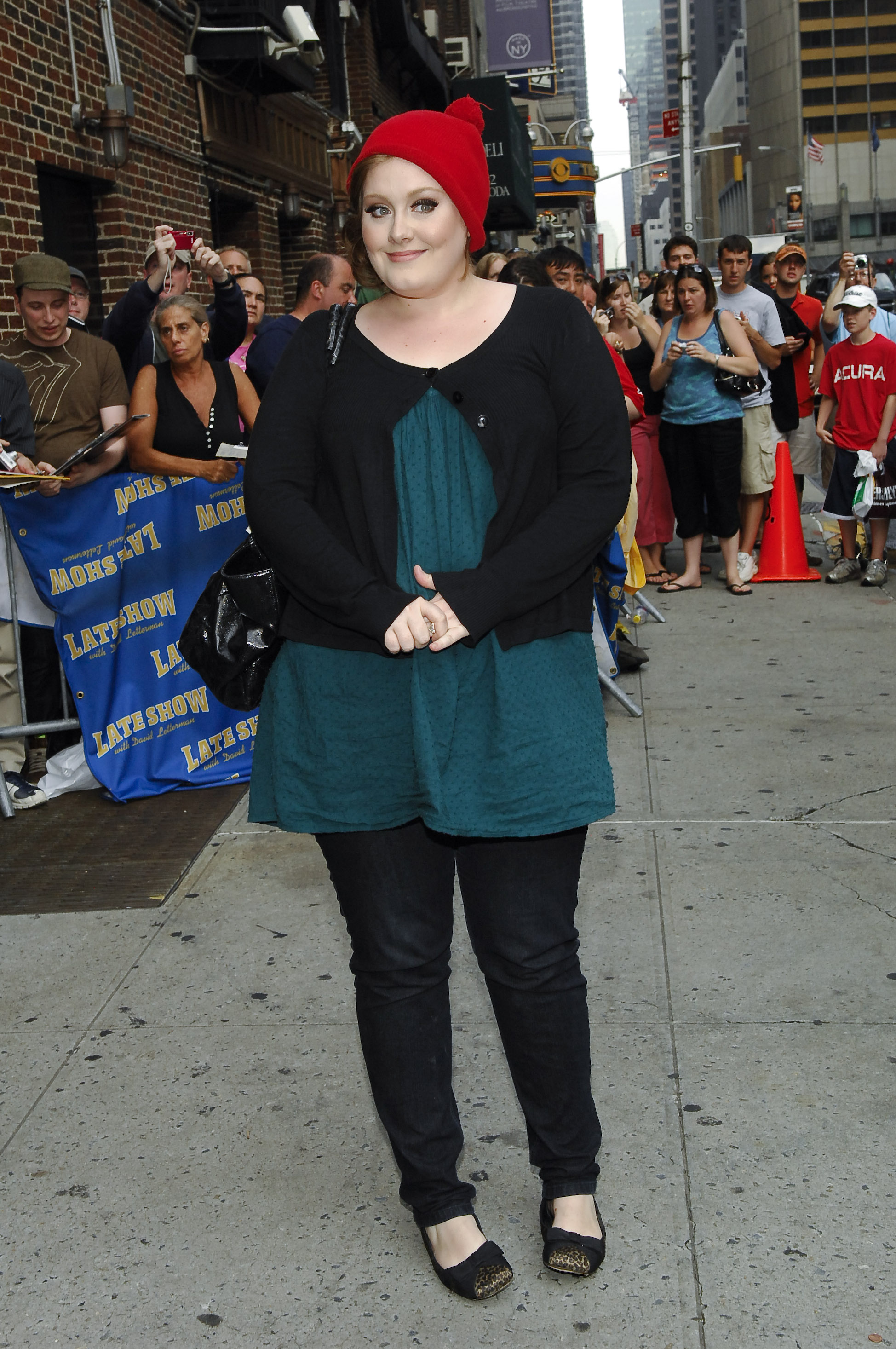 "Adele attends the ""Late Show with David Letterman"" at Ed Sullivan Theatre in New York City on June 16, 2008."