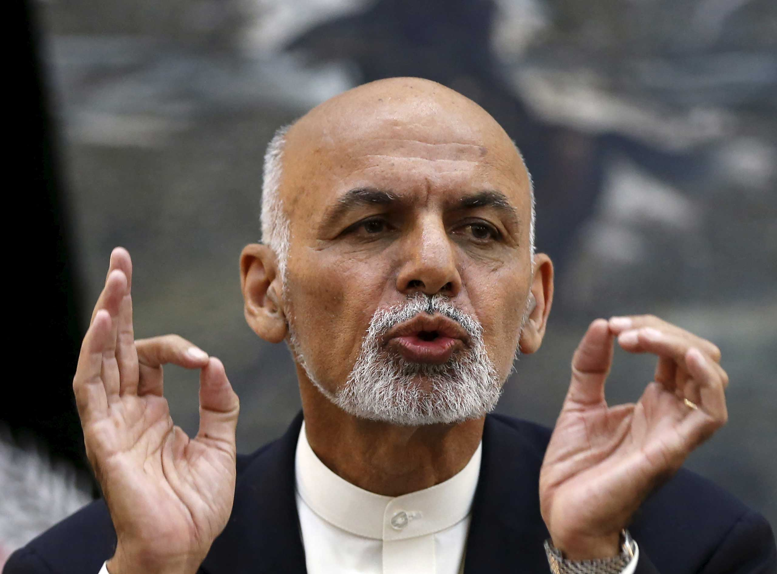 Afghanistan's President Ashraf Ghani speaks during a news conference in Kabul, Afghanistan  Oct. 1, 2015.