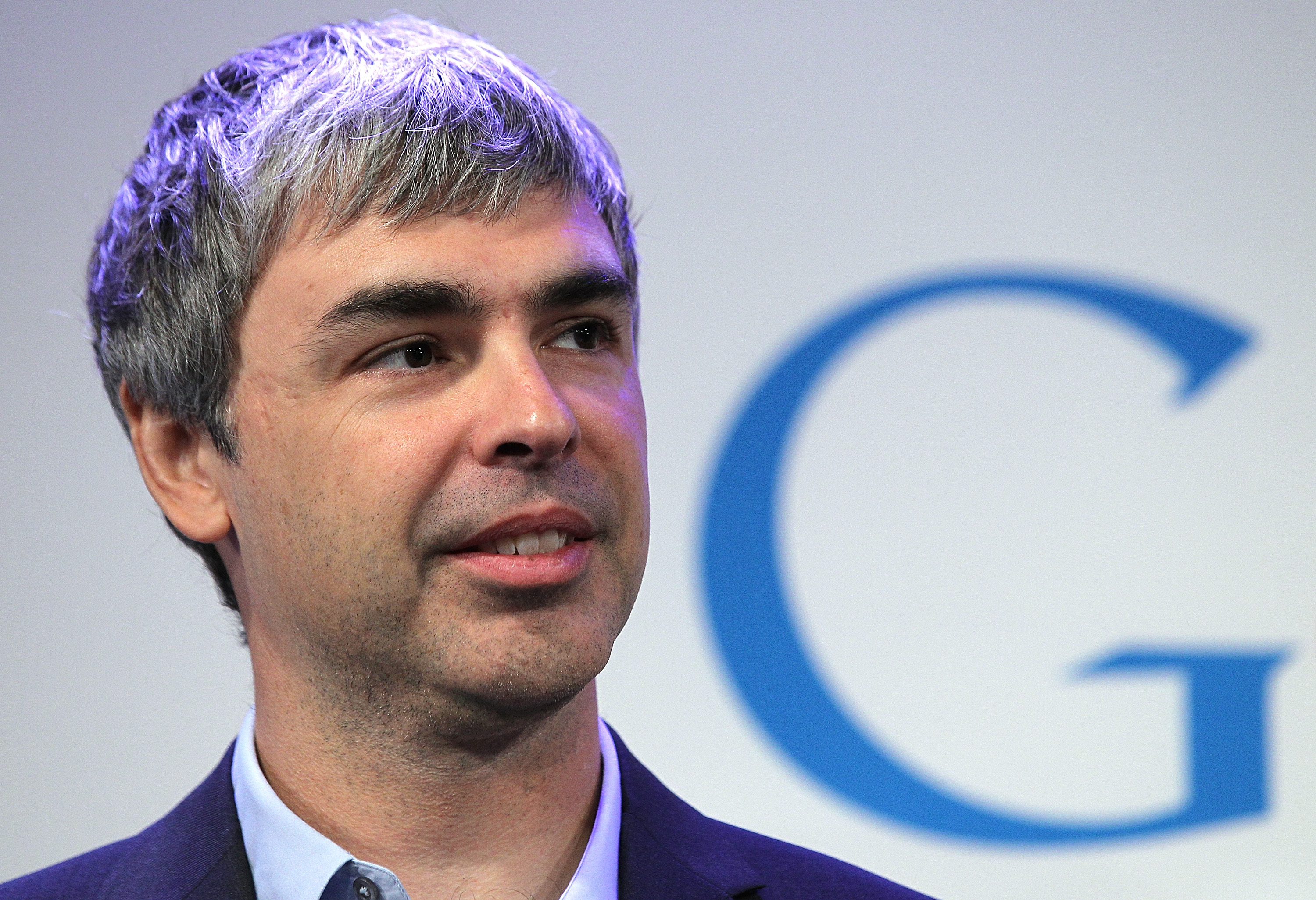 Larry Page at a news conference at the Google offices in New York City on May 21, 2012.