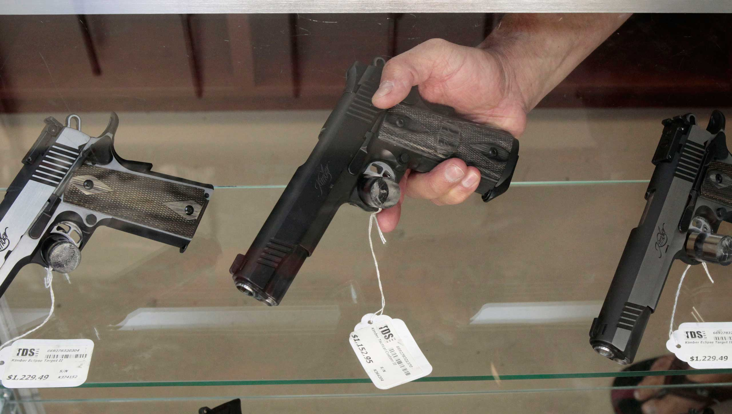 Semi-automatic pistol on display at store in Rocklin, Calif.
