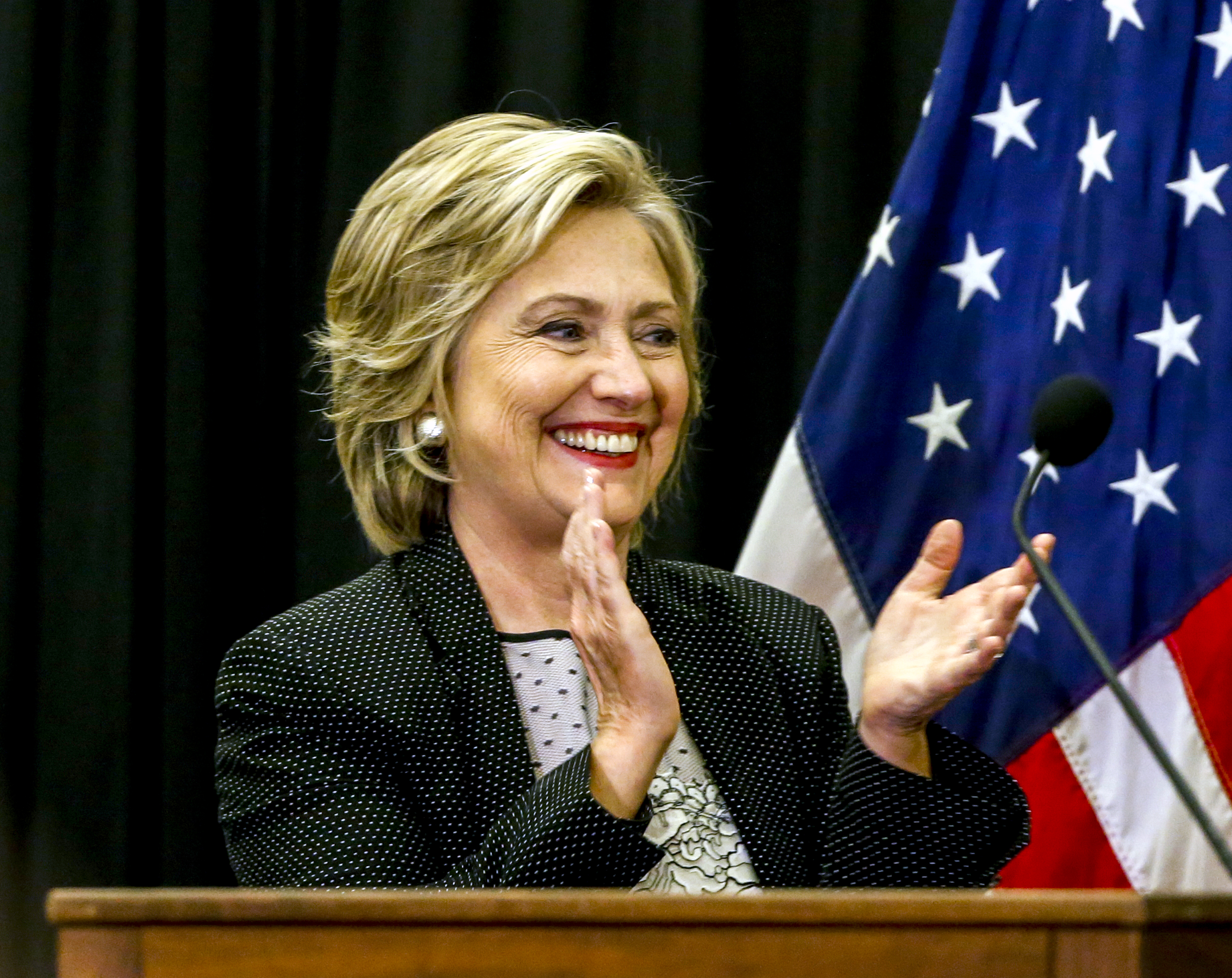 Democratic presidential candidate Hillary Clinton arrives to speak at a 'Women for Hillary' meeting at the University of Wisconsin Milwaukee in, Wisconsin, Sept. 10, 2015.