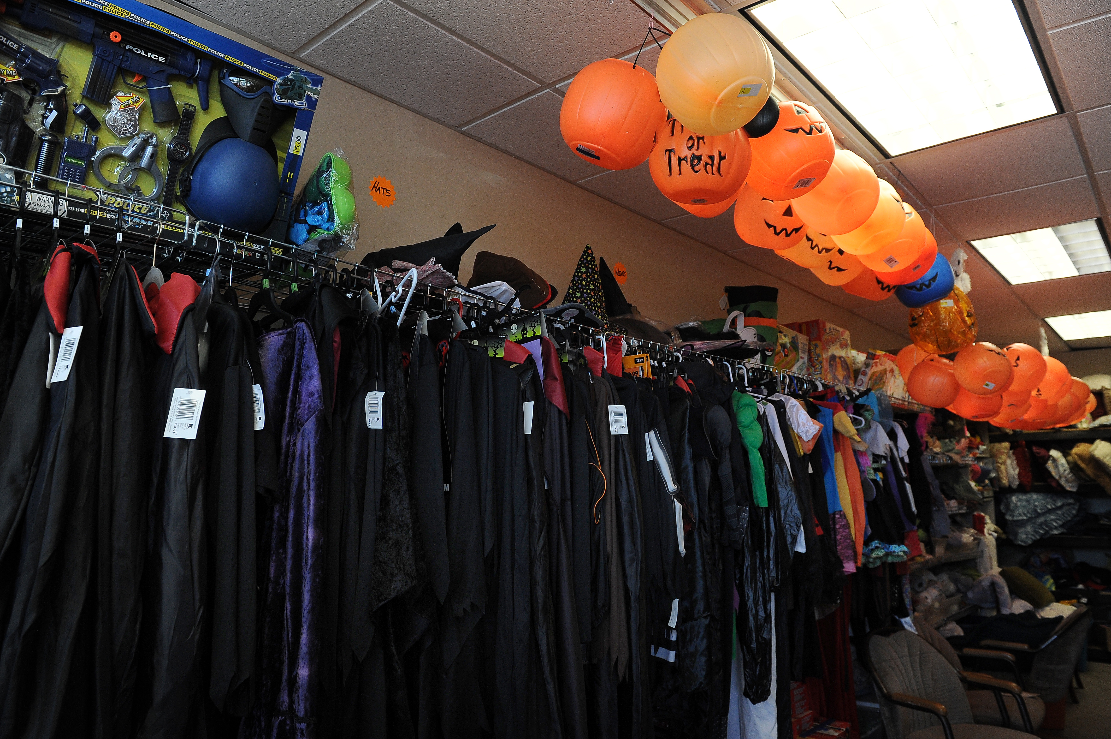 Halloween costumes and goods for sale at a thrift store in Colorado on Sept. 18, 2015.