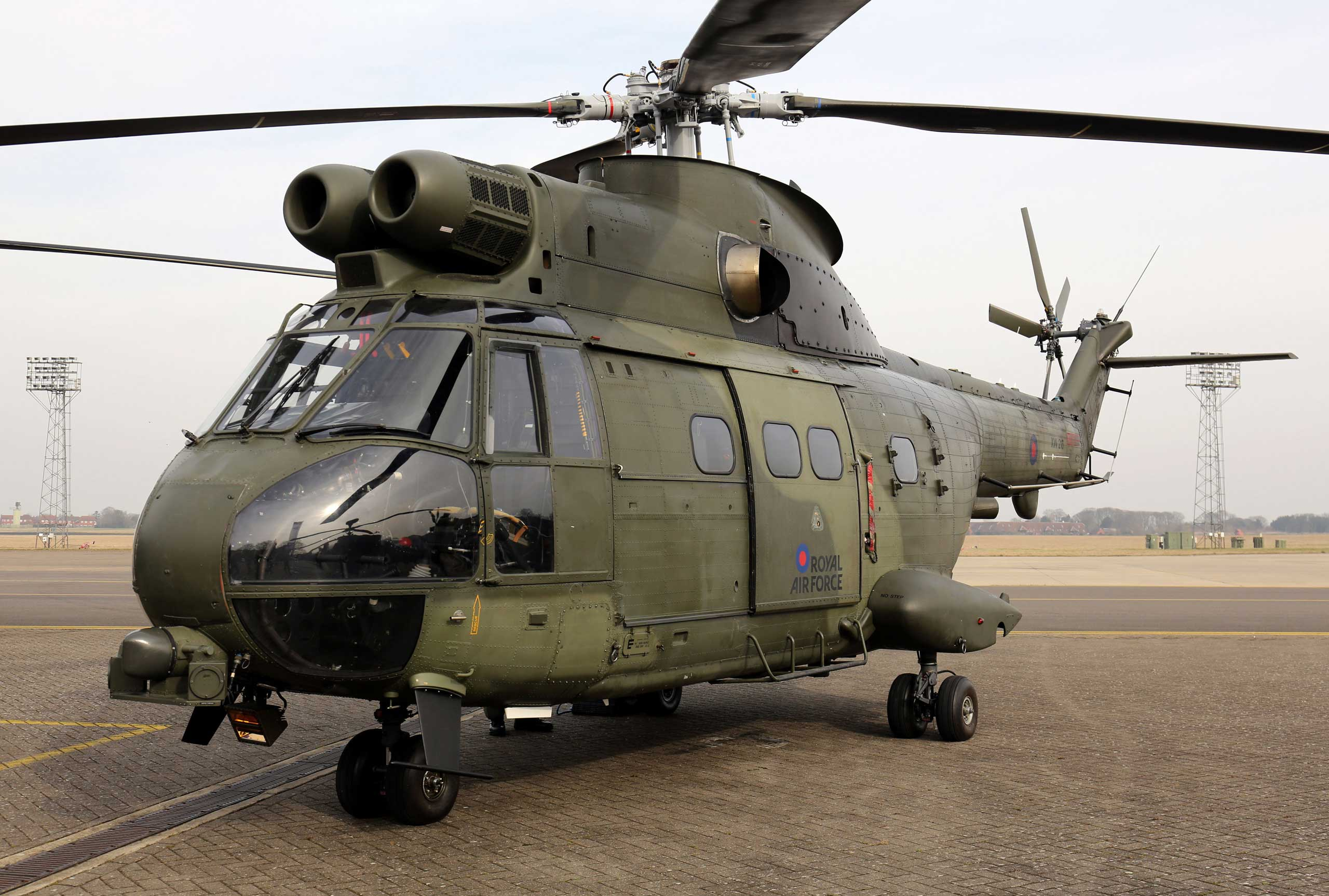 A RAF Puma helicopter, similar to the UK Puma Mk 2 helicopter which crashed in Afghanistan, killing two service personnel from the RAF, Oct. 11, 2015.