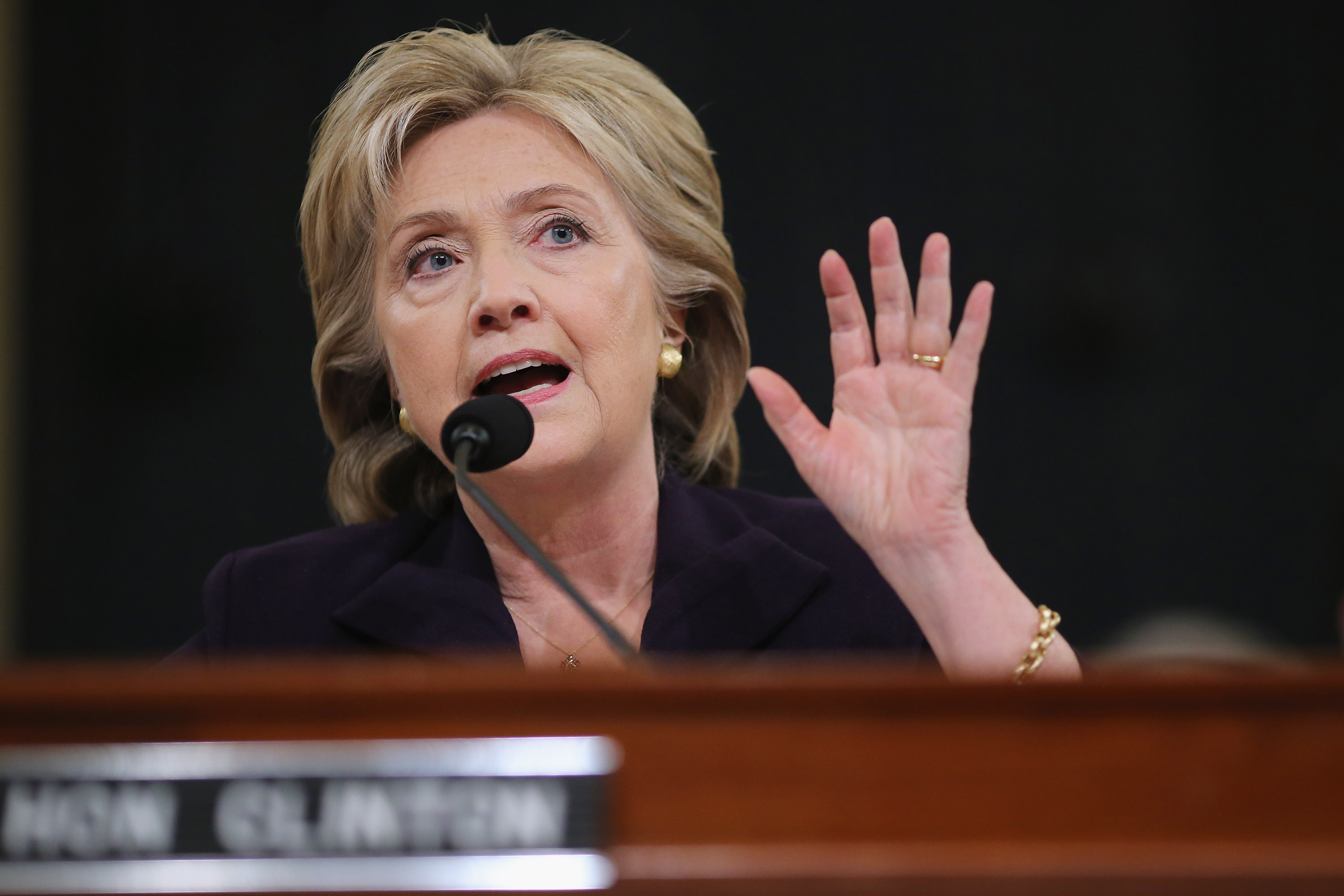 Hillary Clinton testifies before the House Select Committee on Benghazi on Oct. 22, 2015 on Capitol Hill in Washington, DC.