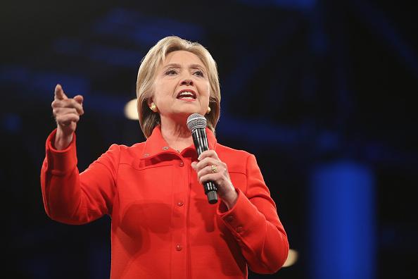 Hillary Clinton speaks at a Jefferson Jackson Dinner in Iowa on October 24, 2015 in Des Moines, Iowa.