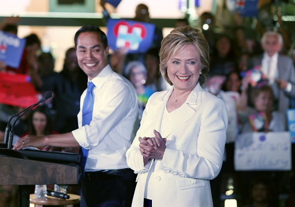 Secretary of Housing and Urban Development Secretary Julian Castro introduces Democratic presidential candidate Hillary Clinton at a  Latinos for Hillary  grassroots event October 15, 2015 in San Antonio, Texas.