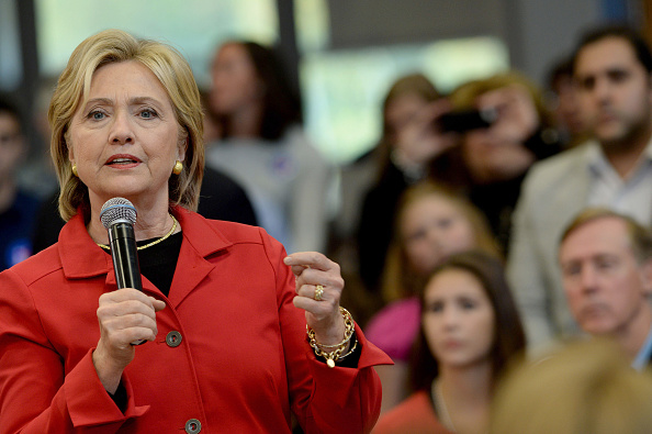 Democratic Presidential candidate Hillary Clinton speaks at a town hall event at Manchester Community College October 5, 2015 in Manchester, New Hampshire.