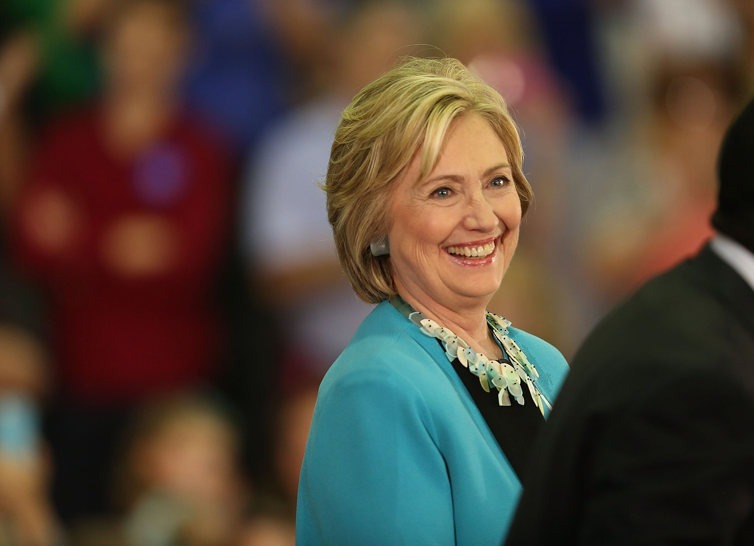 Hillary Clinton laughs as she is introduced during her campaign stop at the Broward College – Hugh Adams Central Campus on October 2, 2015 in Davie, Florida.