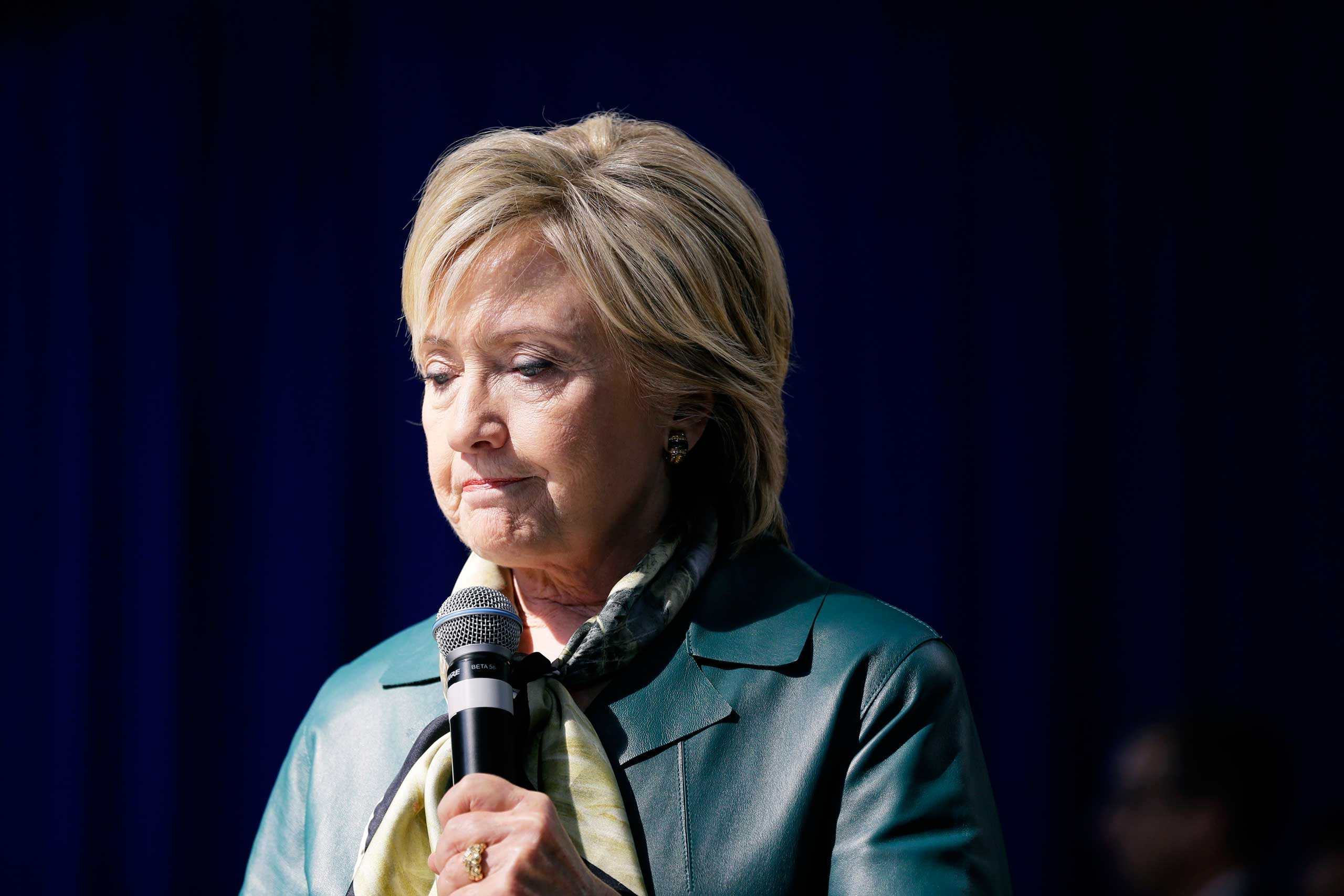 Hillary Clinton speaks during a community forum in Davenport, Iowa, on Oct. 6, 2015.