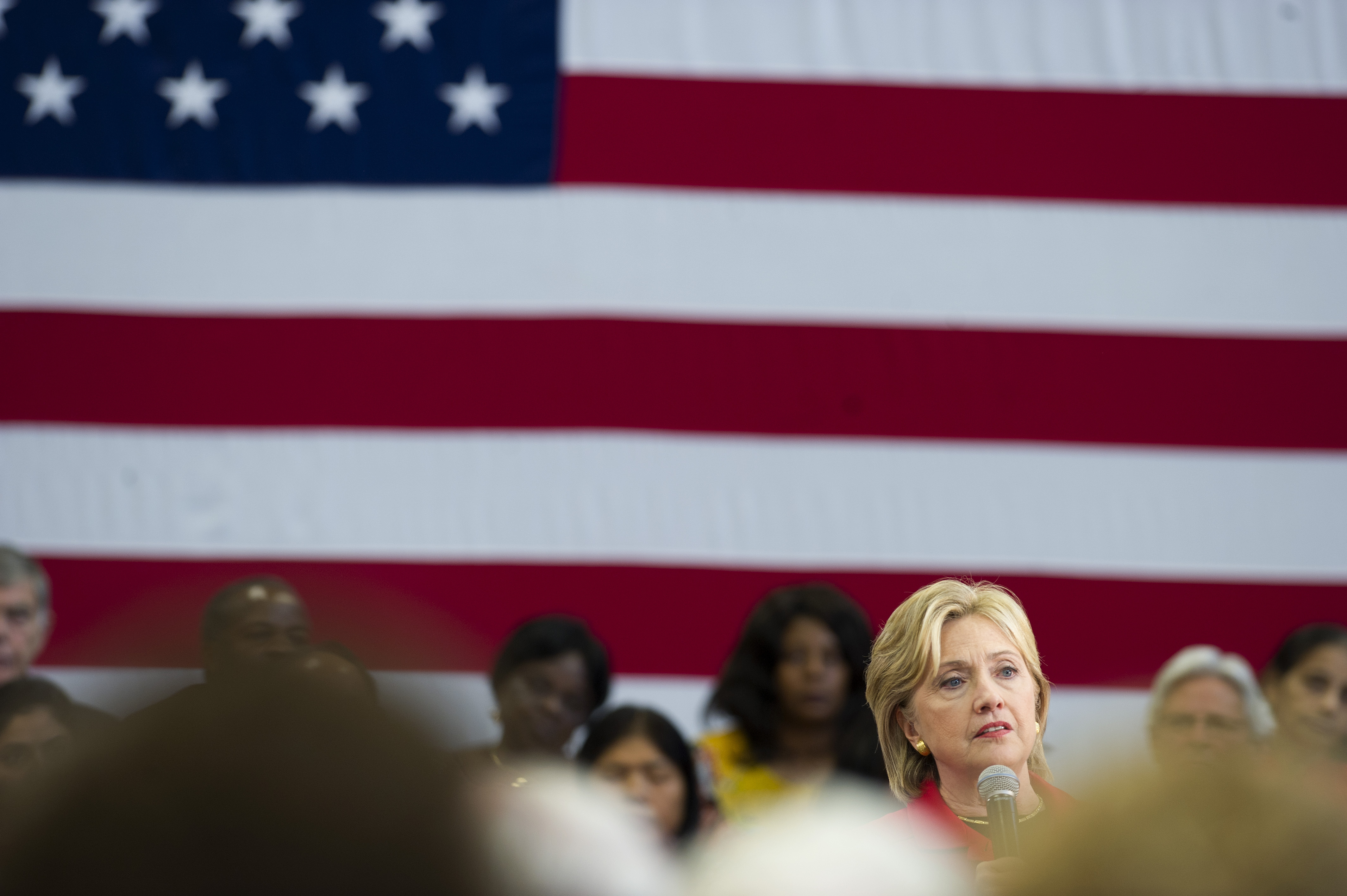 Hillary Clinton holds a town hall meeting at the Manchester Community College on Oct. 5, 2015 in Manchester, NH.
