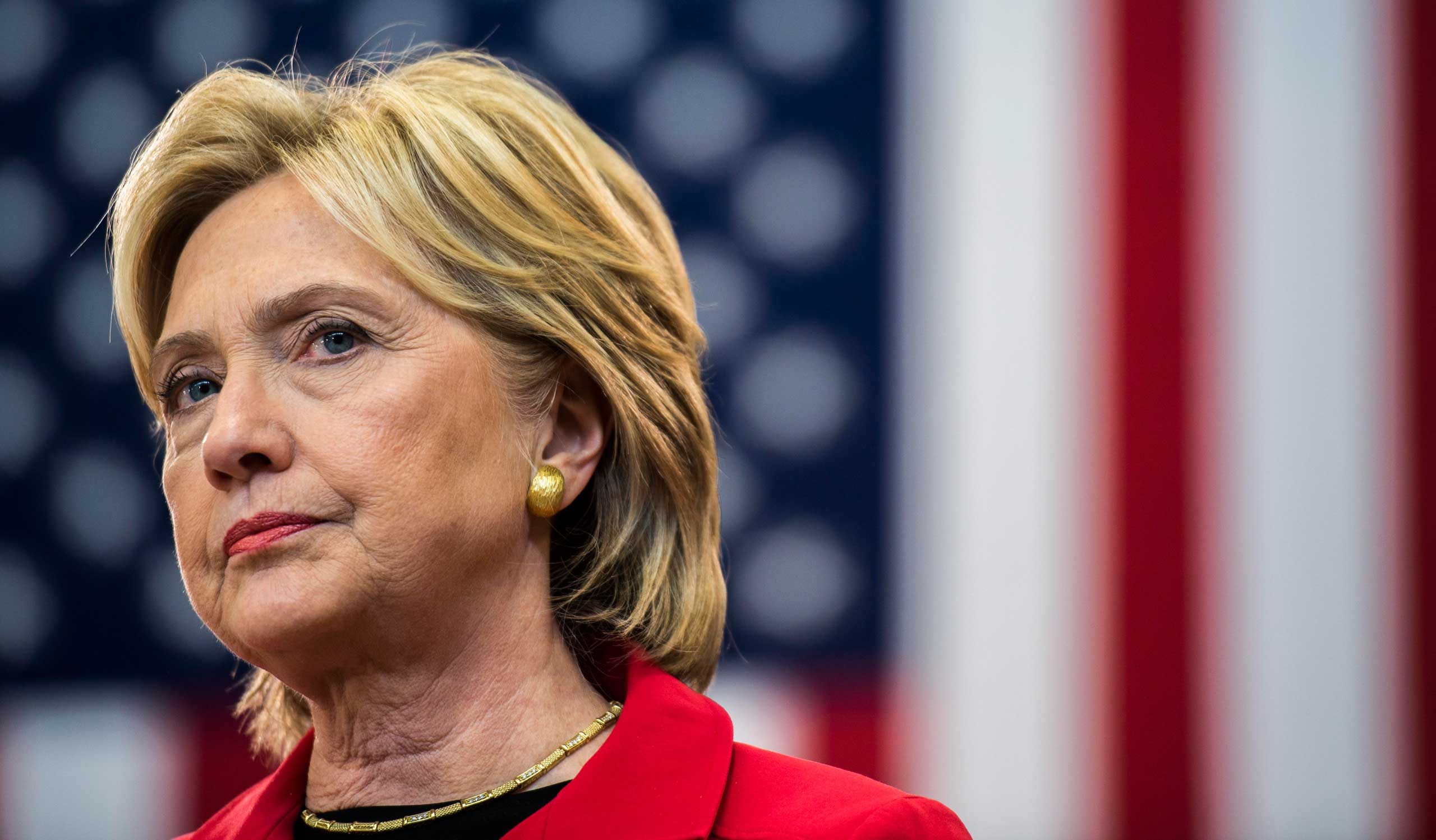 Democratic Presidential candidate Hillary Clinton speaks at a town hall event at Manchester Community College, on Oct. 5, 2015.