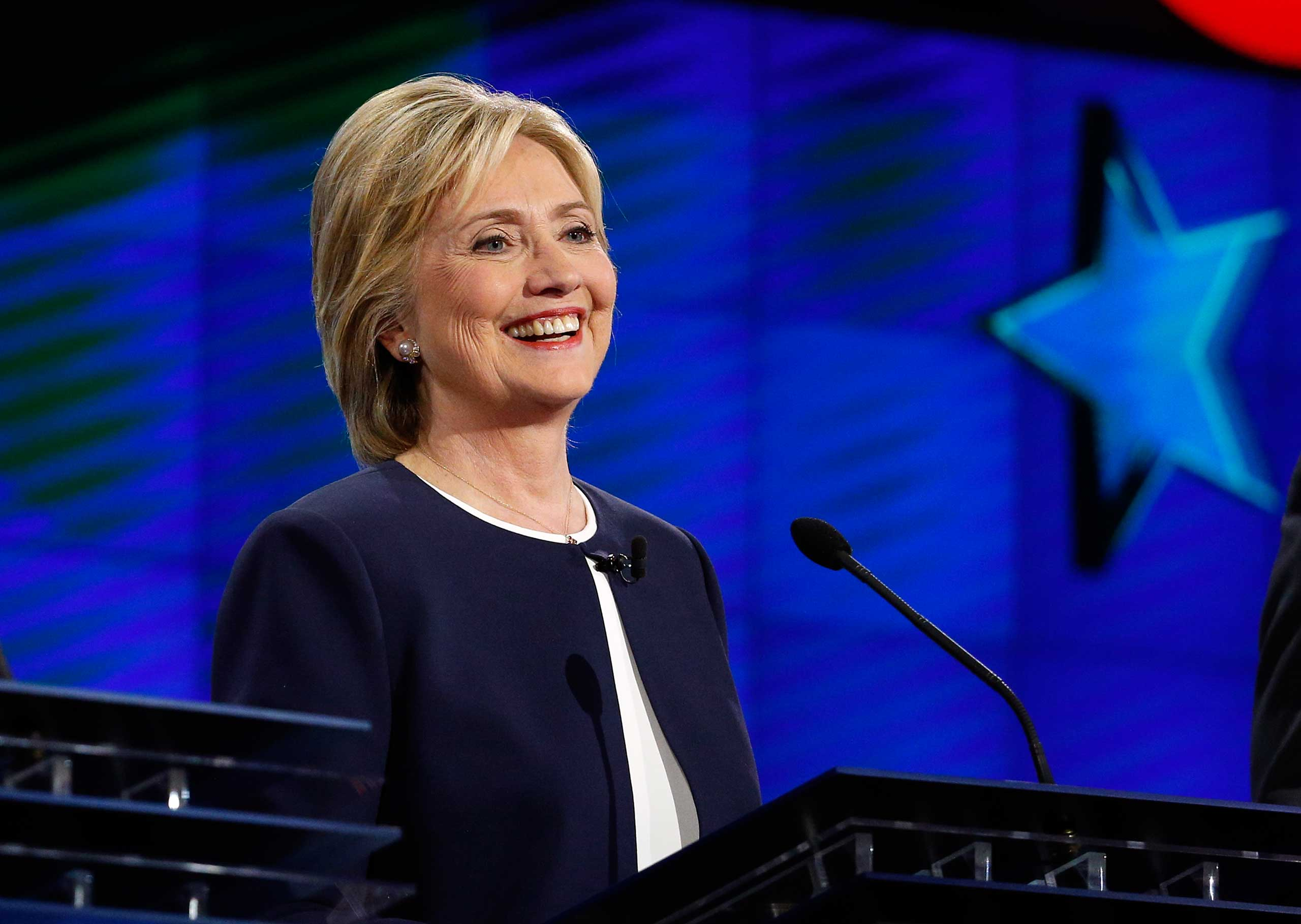 Hillary Rodham Clinton smiles during the CNN Democratic presidential debate, in Las Vegas, on Oct. 13, 2015.