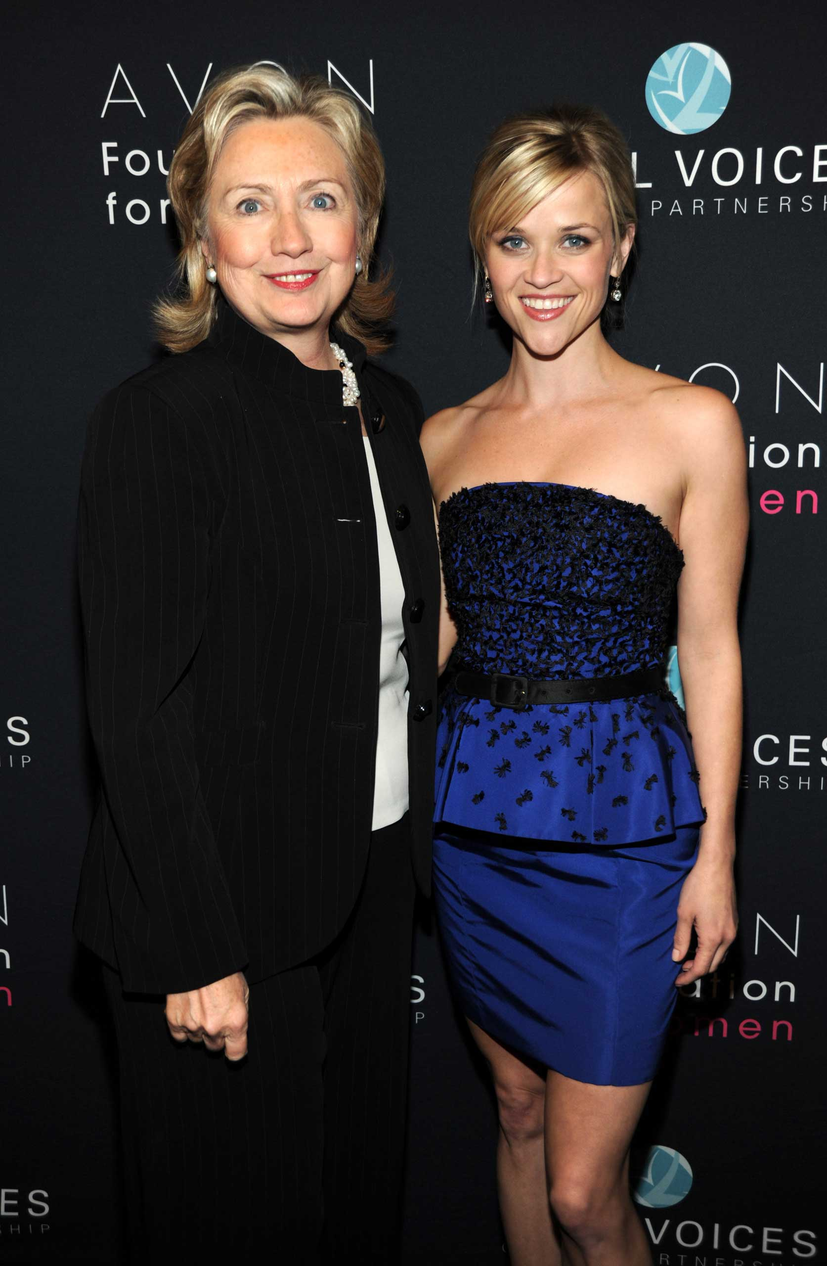 Secretary of State Hillary Clinton and Honorary Chairperson of the Avon Foundation for Women Reese Witherspoon attends Vital Voices 2010 Global Leadership Awards at The Kennedy Center in Washington, DC., on March 10, 2010.