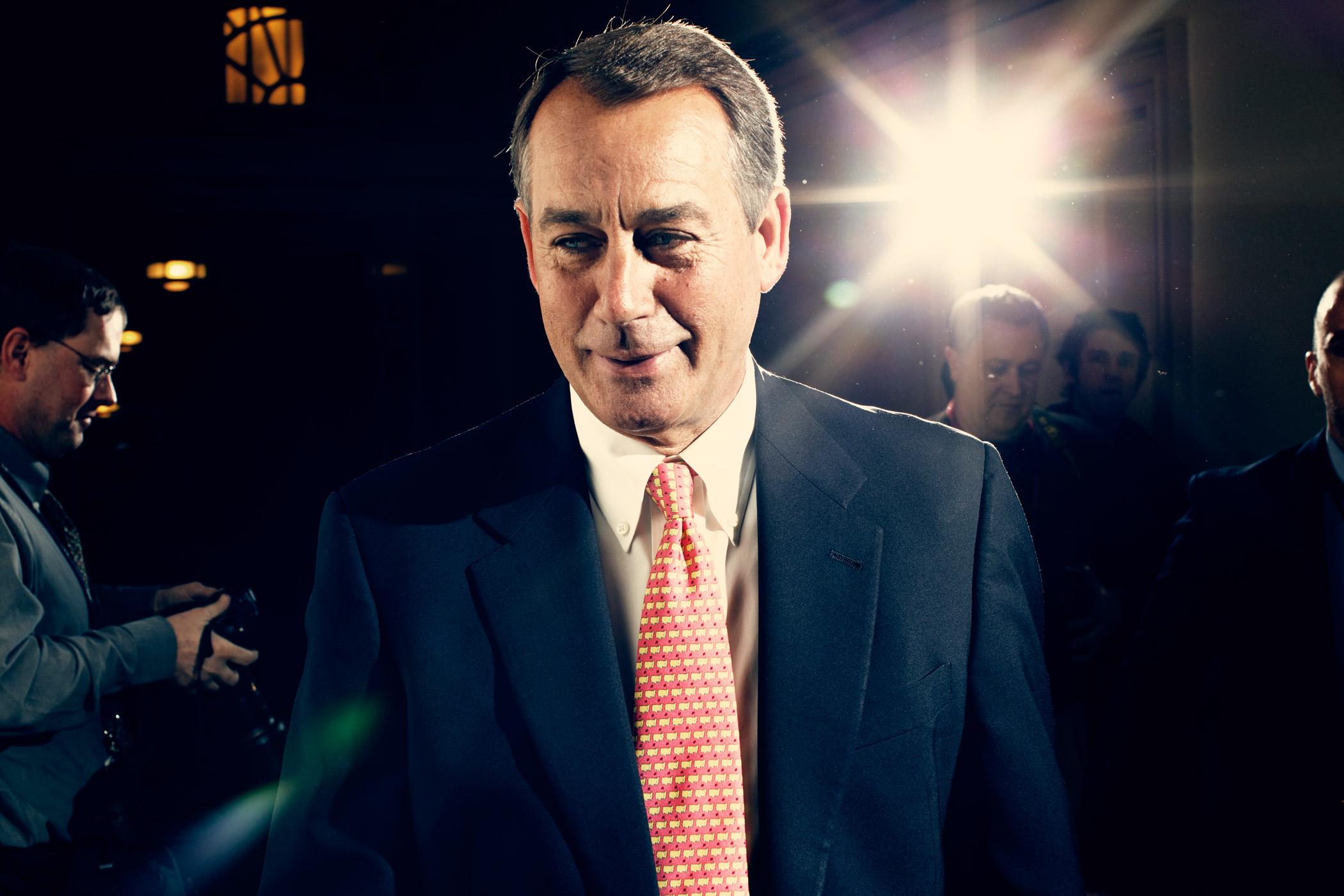Boehner walks out of a meeting at the U.S. Capitol ahead of a potential government shutdown, in Washington in April 2011.