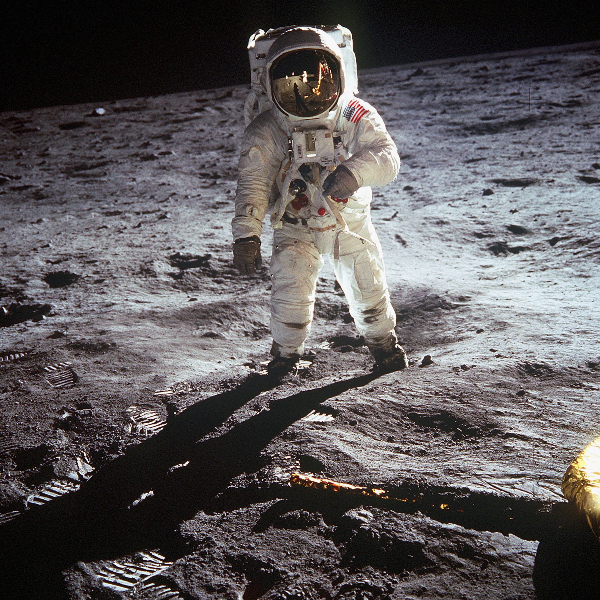 "<b>First Steps on the Moon, 1969</b>; American astronaut Edwin ""Buzz"" Aldrin walking on the moon on July 20, 1969 during the Apollo 11 mission."