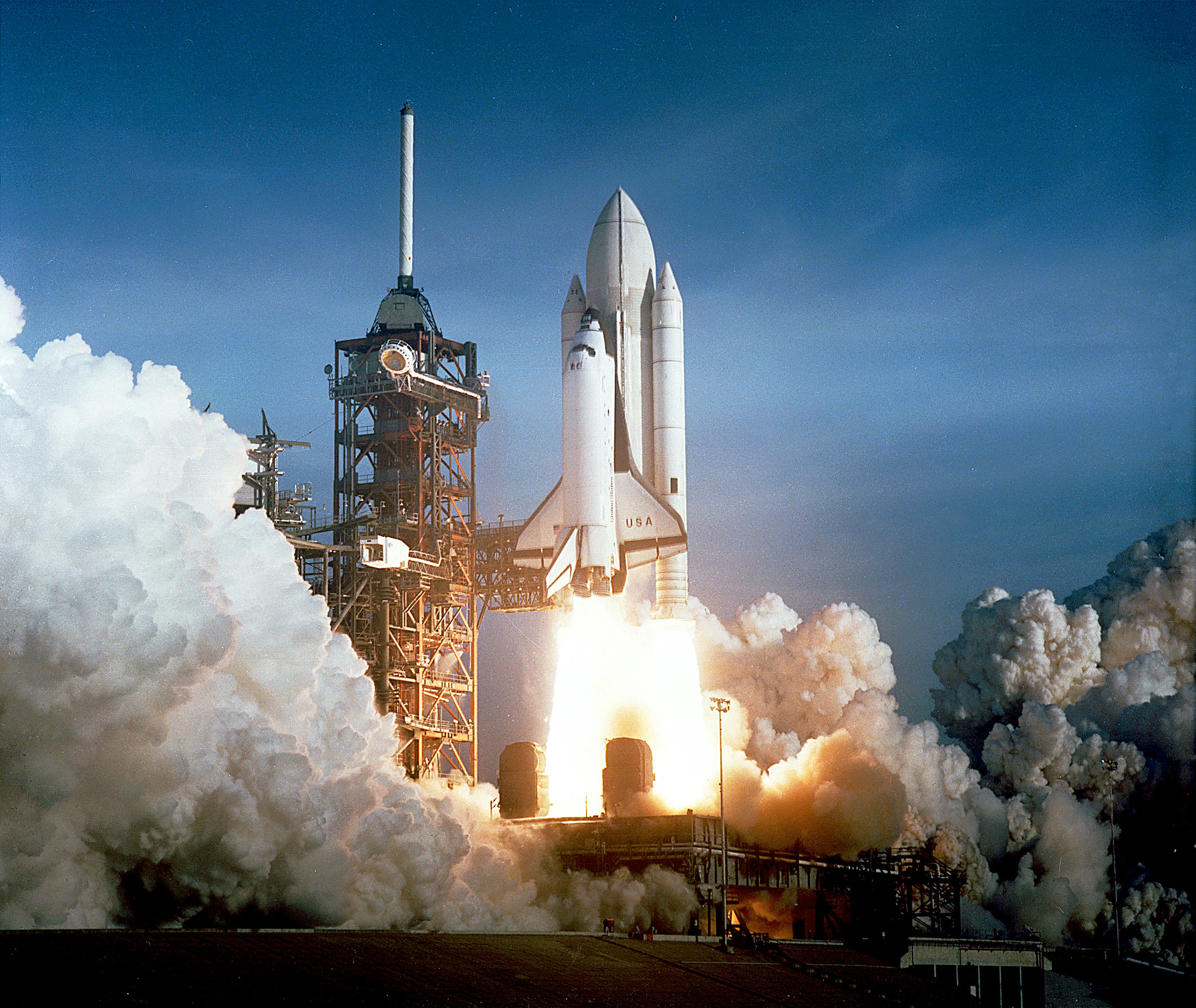 <b>First Shuttle Lift Off, 1981</b>; The STS-1 was the first orbital spaceflight of NASA's Space Shuttle Program.