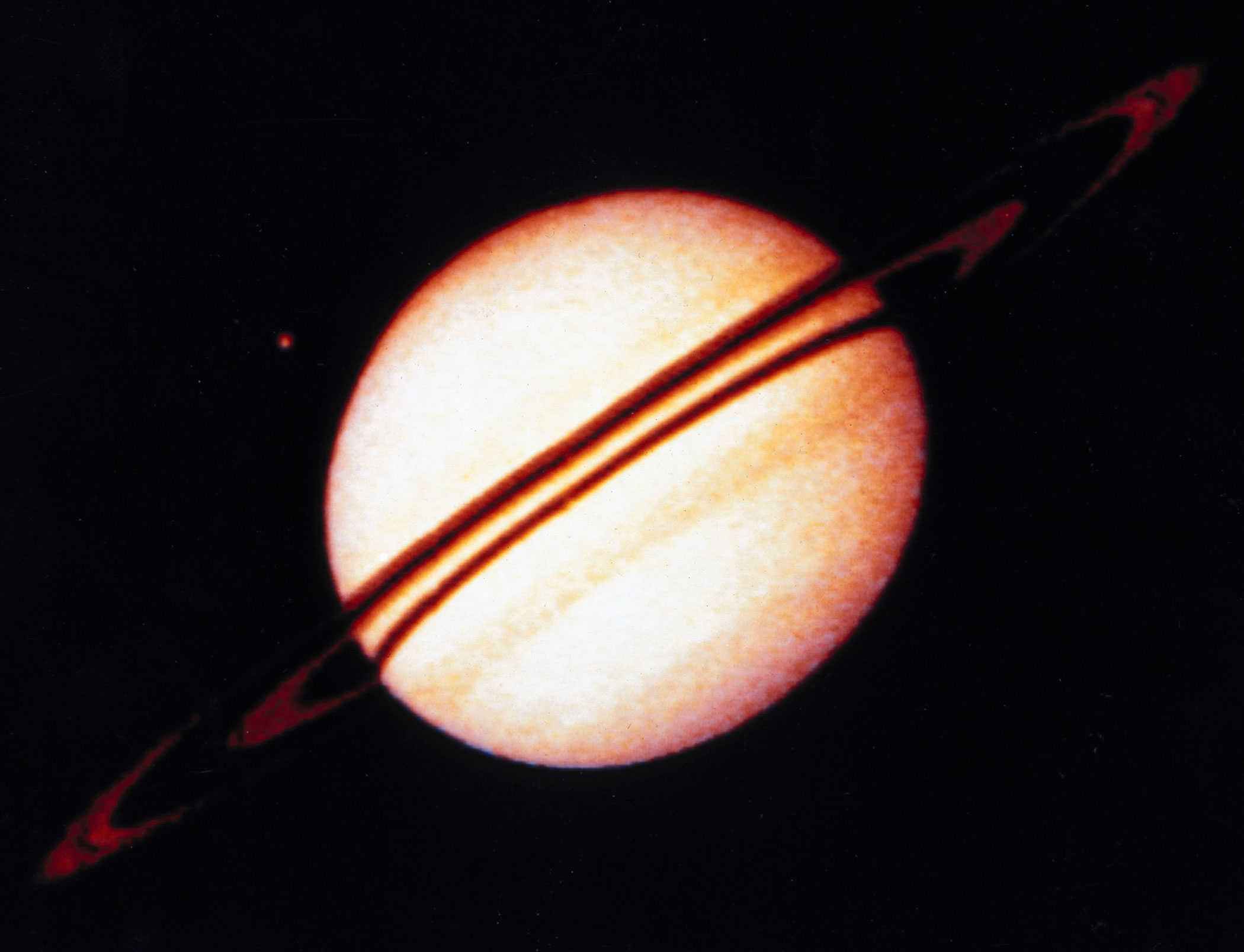 <b>Saturn, 1973</b>  Pioneer 11, launched by NASA on 6th April 1973, returned the first close-up pictures of the ringed planet Saturn.
