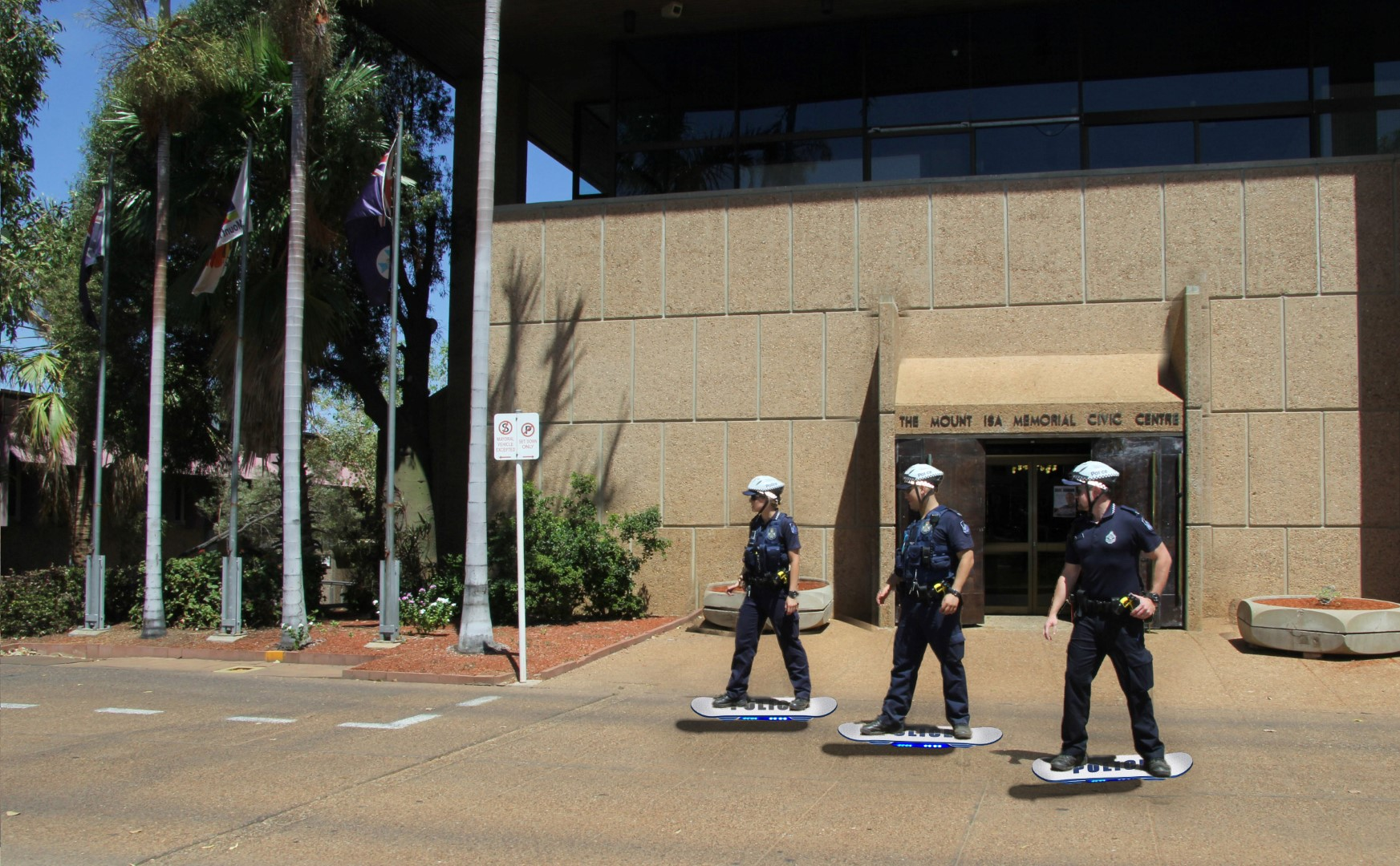 Mount Isa's Hoverboard Unit rushes to the scene in this edited picture, Oct. 21, 2015