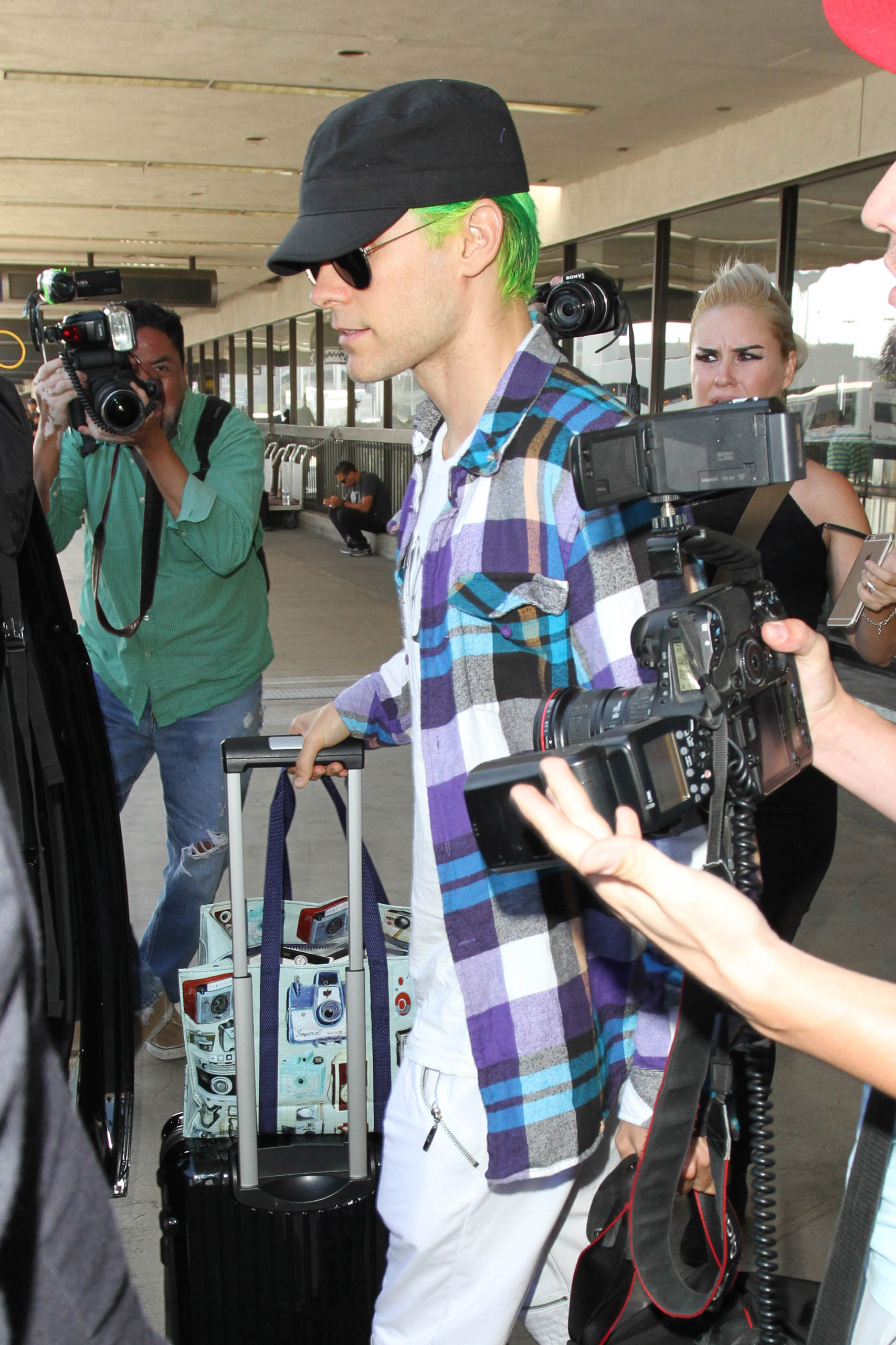 Jared Leto is seen at LAX airport in Los Angeles on Aug.t 18, 2015.
