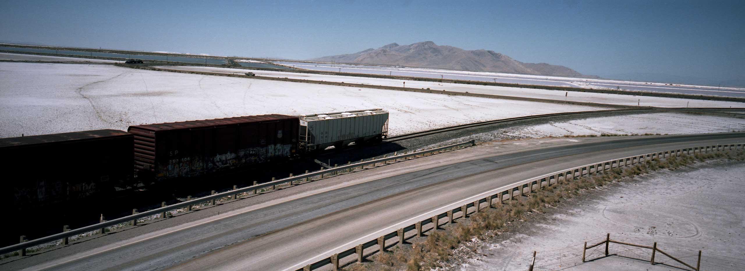 Cargo trains loaded with Salt. Salt Mines. Utah. July 2012