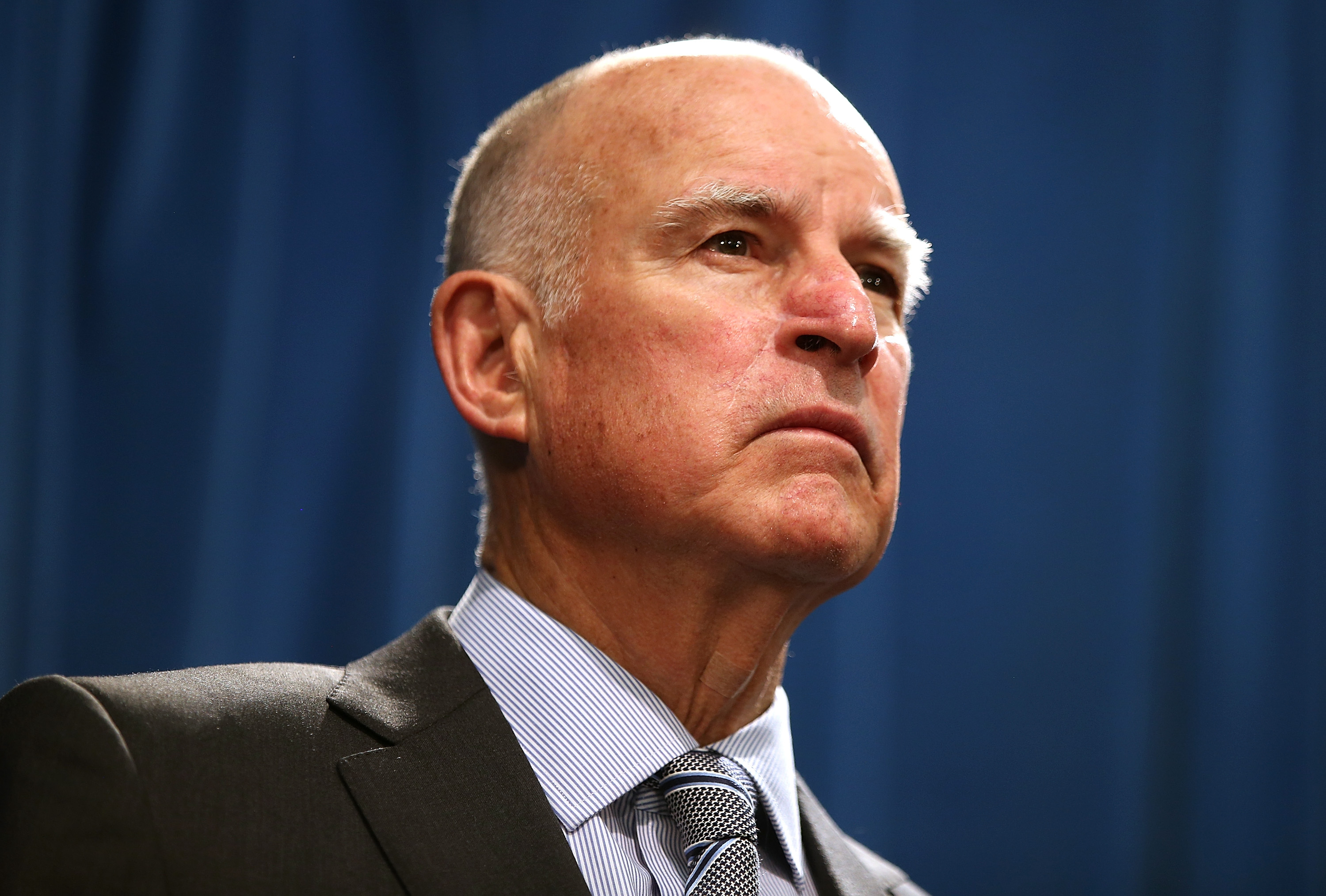 California Governor Jerry Brown speaks during a news conference to announce emergency drought legislation on March 19, 2015, in Sacramento, Calif.